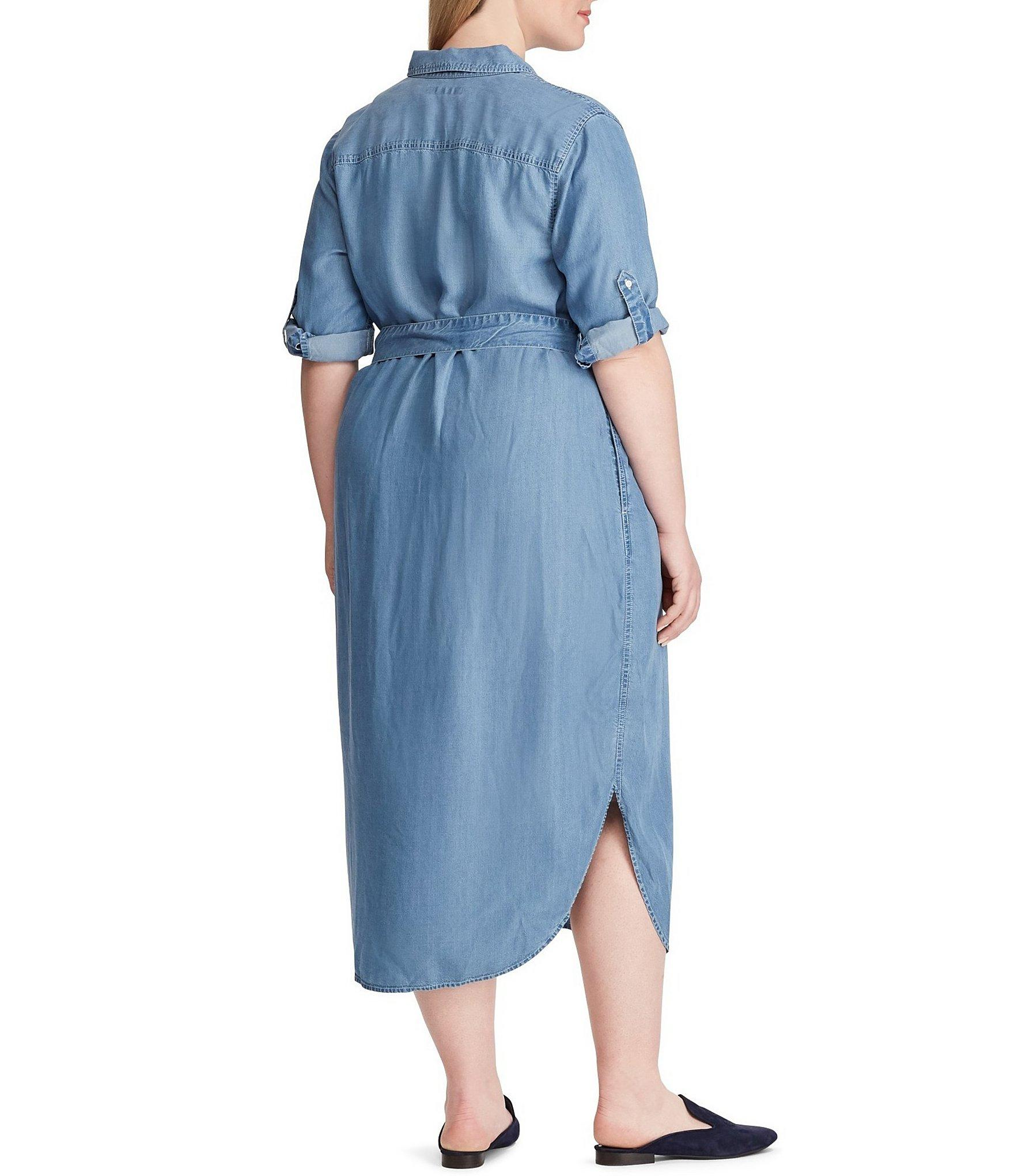 518b042f22f Lyst - Lauren by Ralph Lauren Plus Size Denim Shirt Dress in Blue