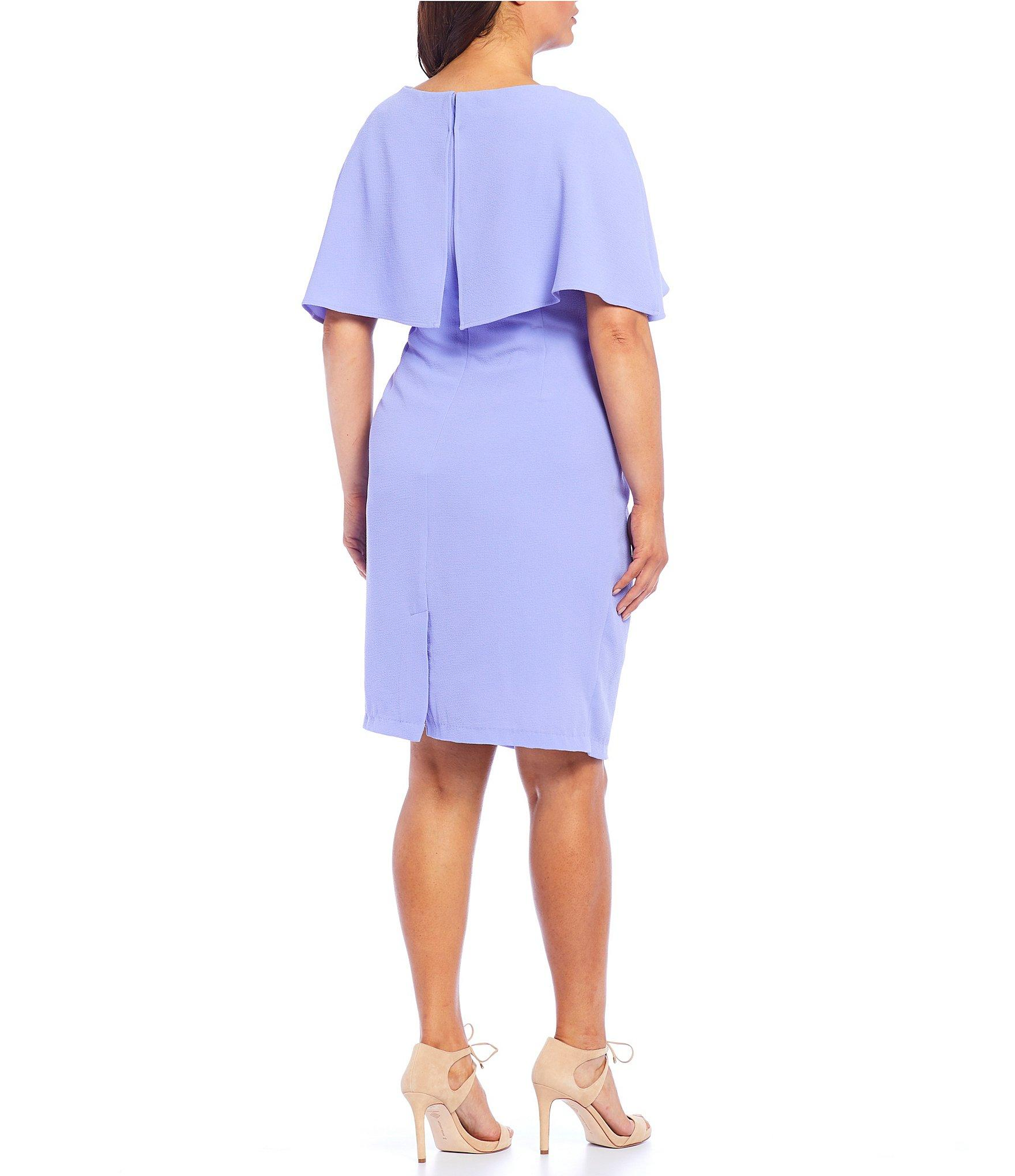 9df0c5ef620 Adrianna Papell - Blue Plus Size Boat Neck Cape Sheath Dress - Lyst. View  fullscreen