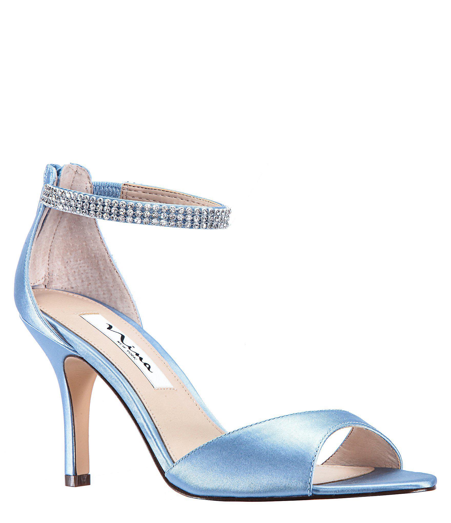 1246f9883 Lyst - Nina Volanda Satin And Rhinestone Dress Sandals in Blue ...