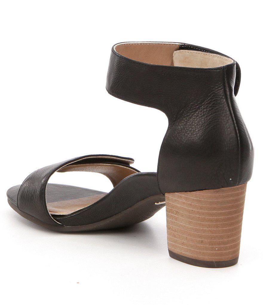 Solana Banded Leather Block Heel Sandals HqCSlj