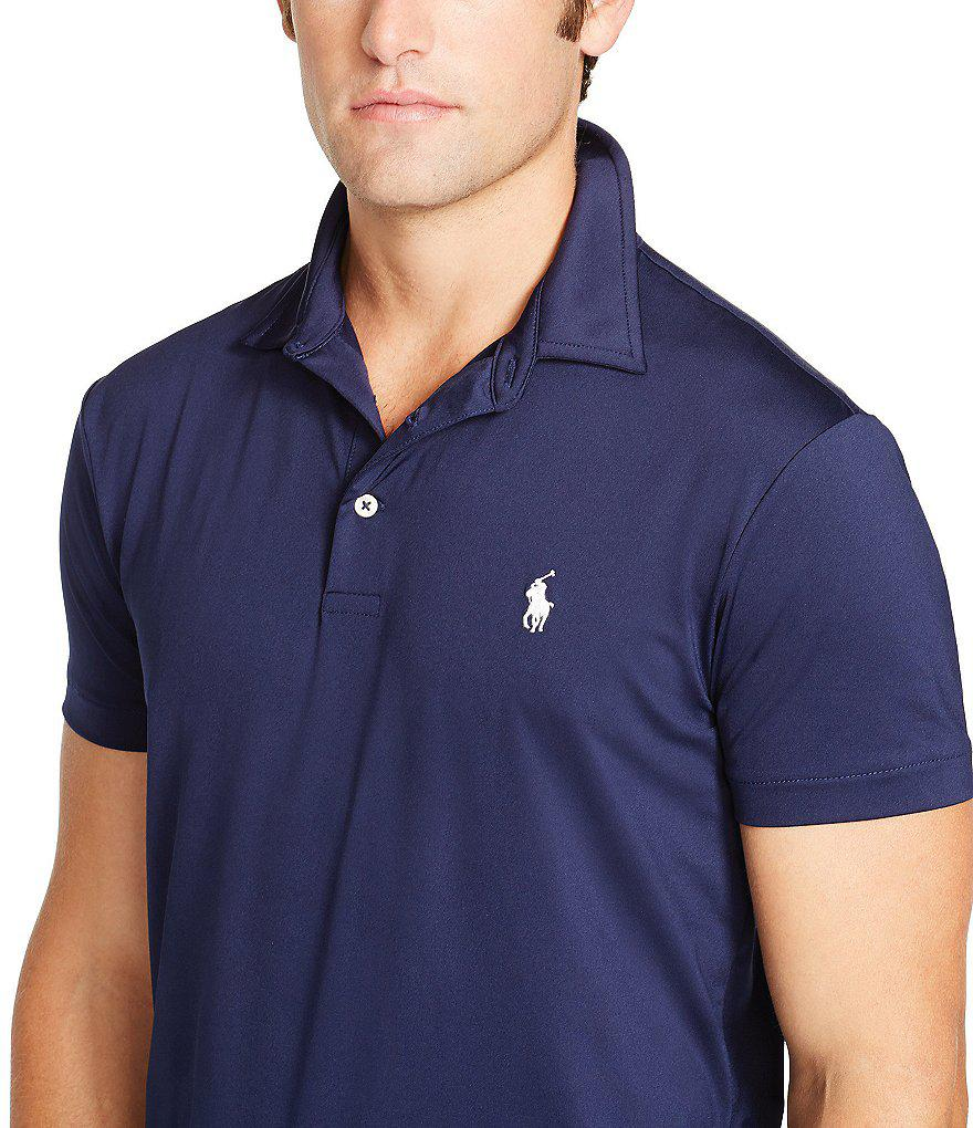 7131a6e2f0 Polo Ralph Lauren Performance Lisle Polo Shirt in Black for Men - Lyst