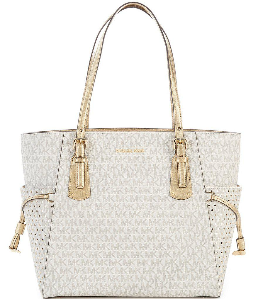 d3abc142cd81 Lyst - MICHAEL Michael Kors Signature Voyager East west Tote in Metallic