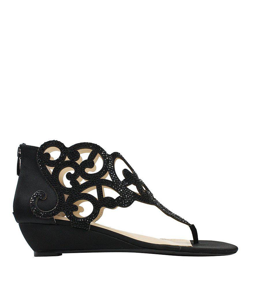 Minka Satin and Rhinestone Wedge Sandals okofZ8e1