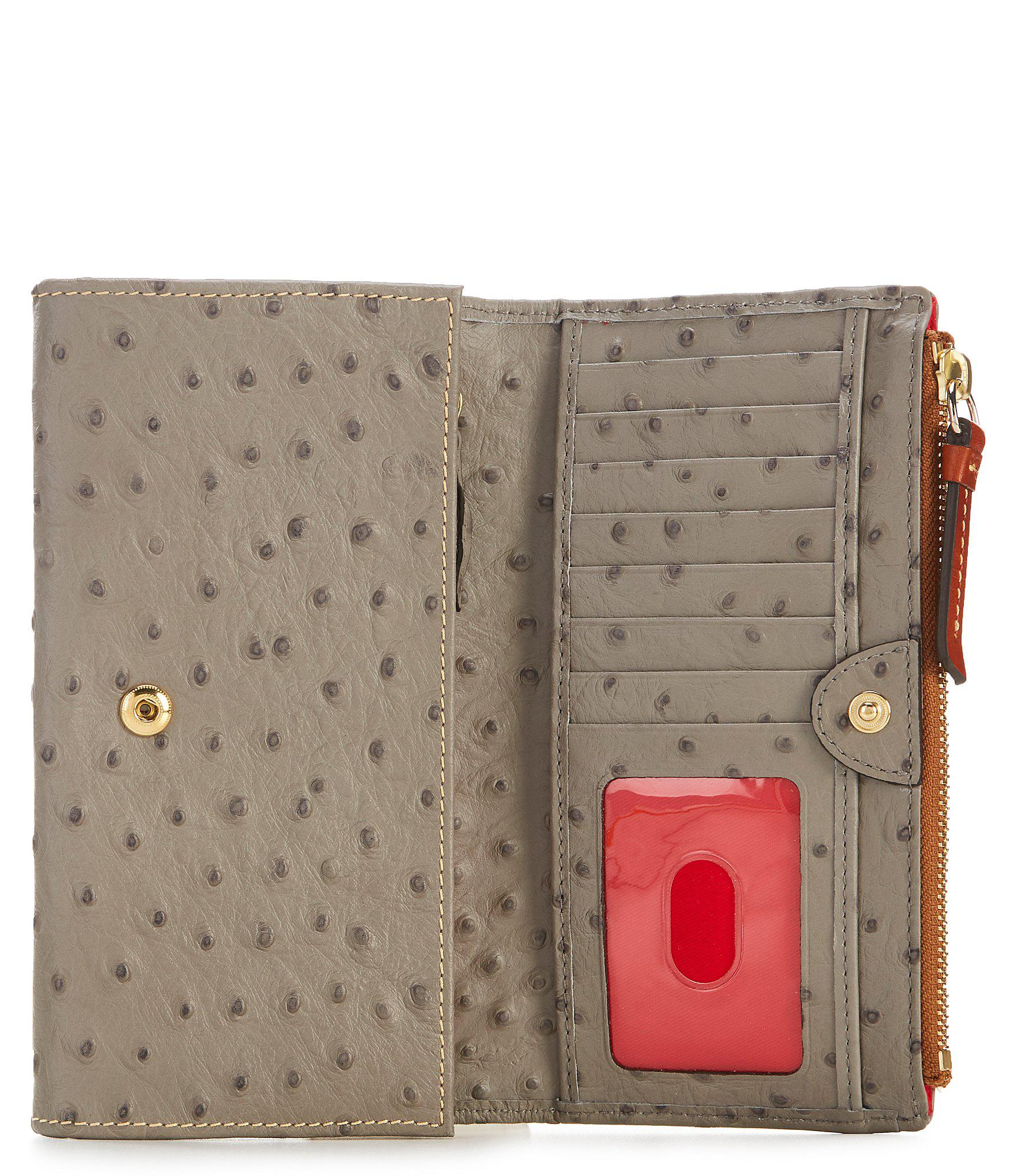 1f69371f146d Lyst - Dooney & Bourke Ostrich Collection Foldover Wallet in Gray