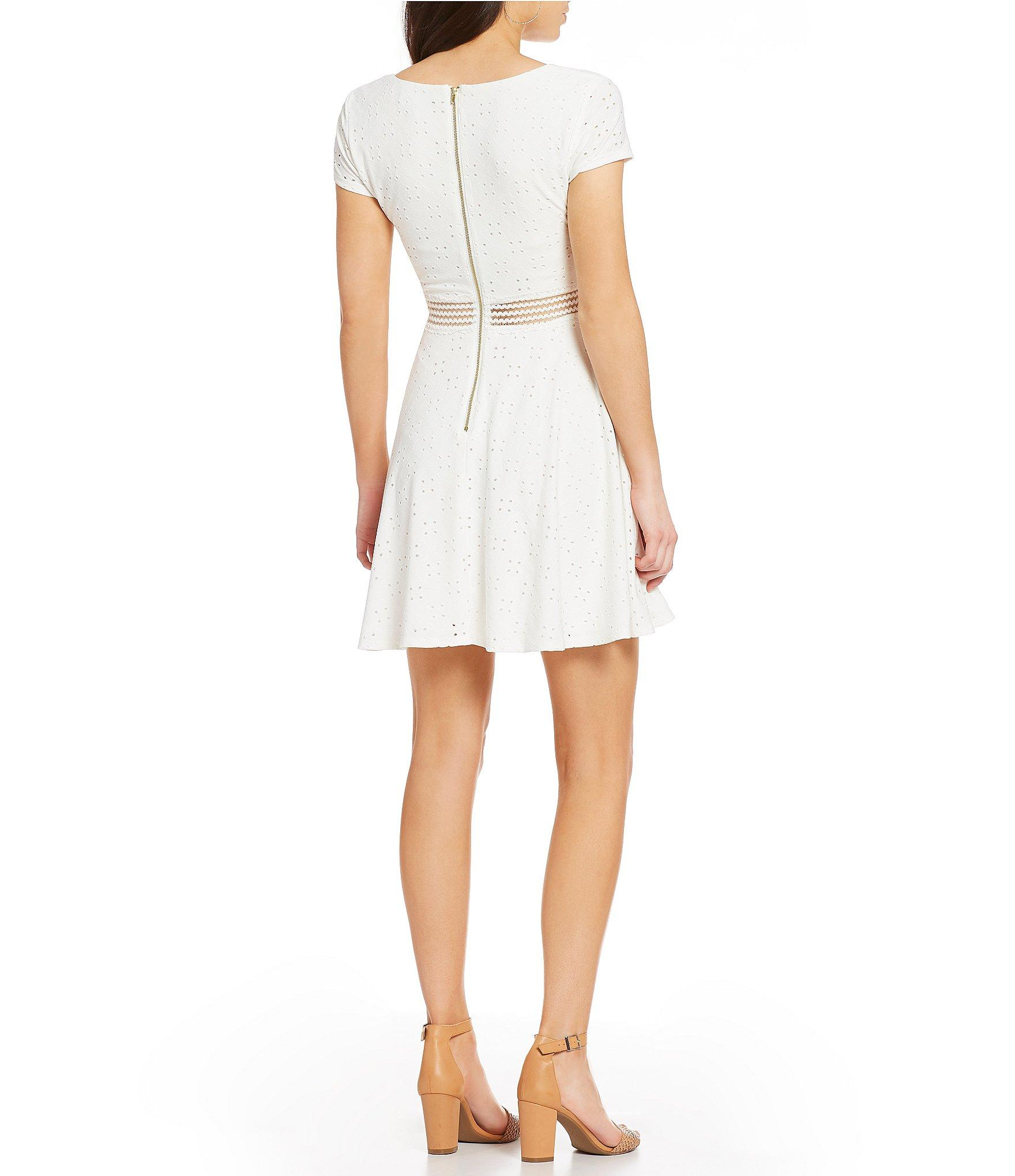 355ced07d0 Sequin Hearts - White Eyelet Knit Fit-and-flare Dress - Lyst. View  fullscreen