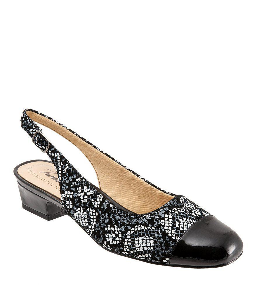 Trotters Dea Python-Printed Leather Sling Pumps 8Bwpo