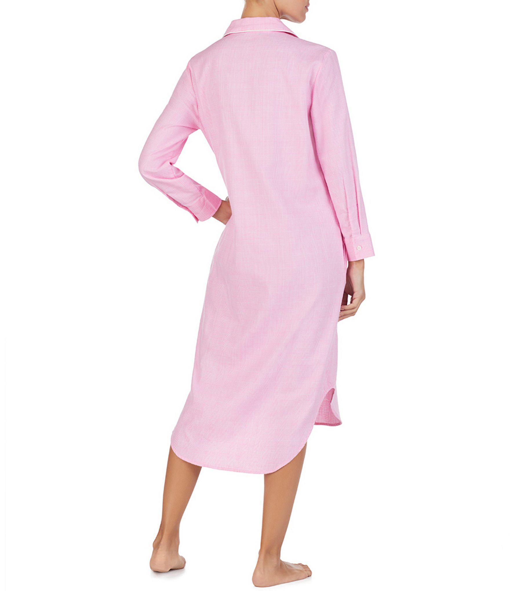 Lauren by Ralph Lauren - Pink Plaid Print Brushed Twill Maxi Sleep Shirt -  Lyst. View fullscreen 5238b83ee