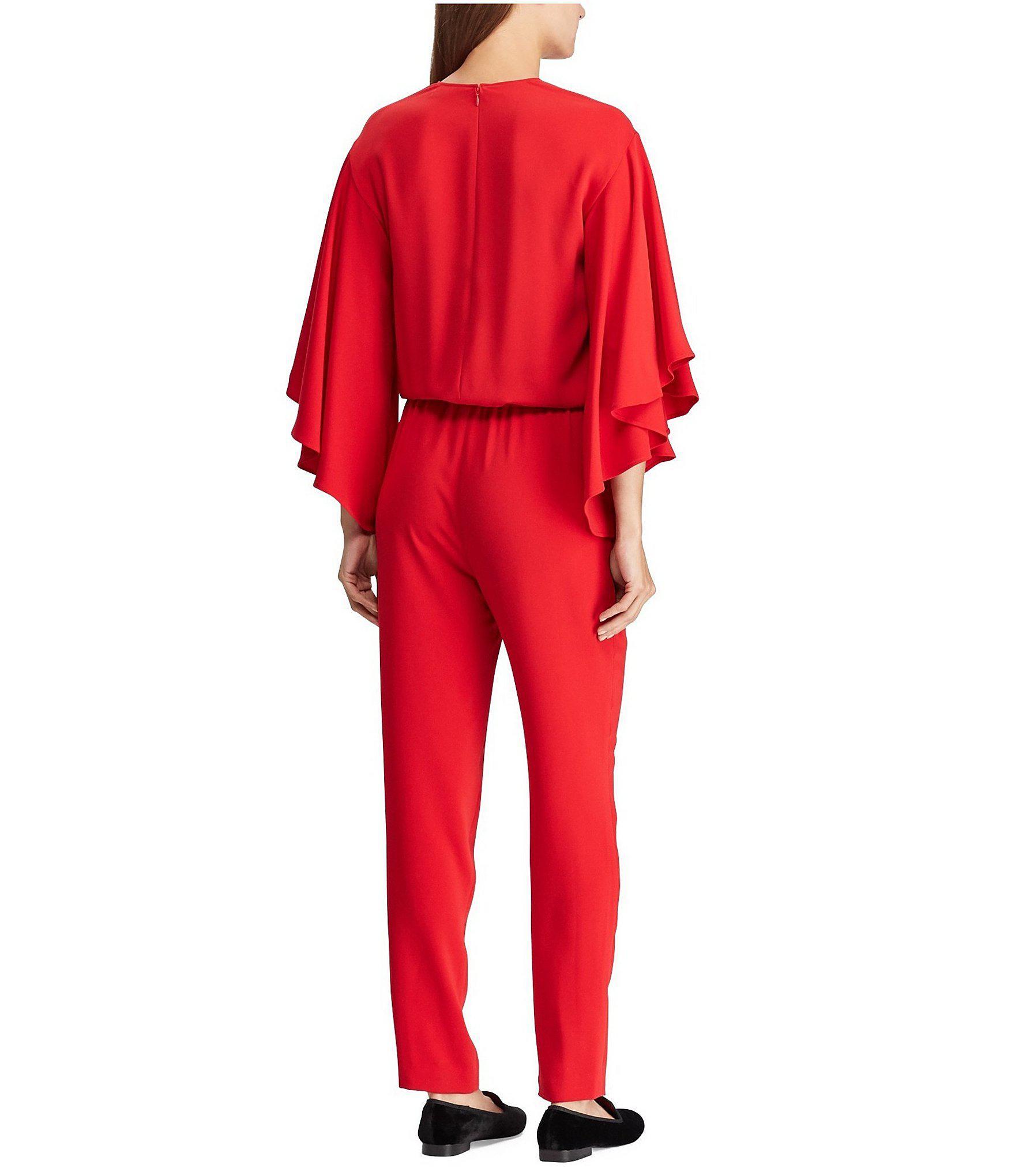 Lyst Lauren By Ralph Lauren Crepe V Neck Jumpsuit In Red