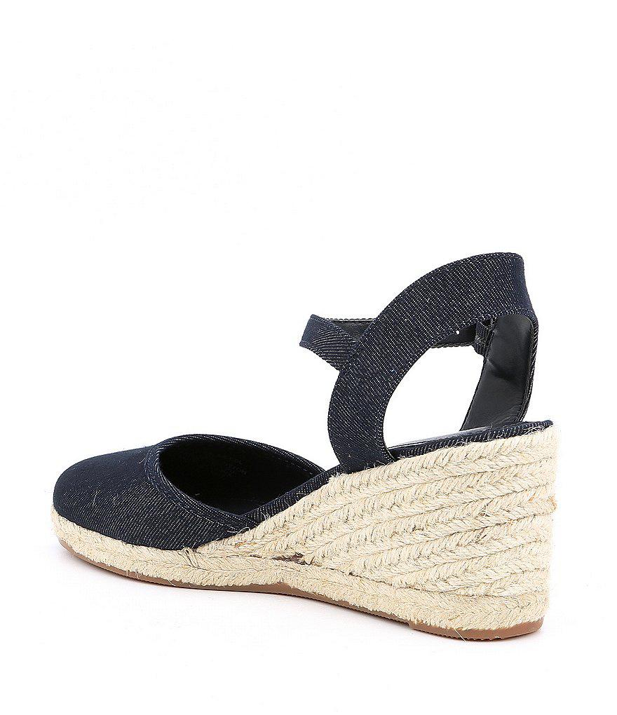 Lauren Ralph Lauren Hayleigh Denim Espadrille Wedge Sandals uFoPL