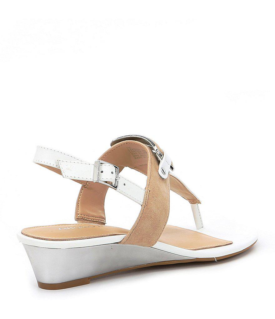 Amabele Suede Thong Wedge Sandals