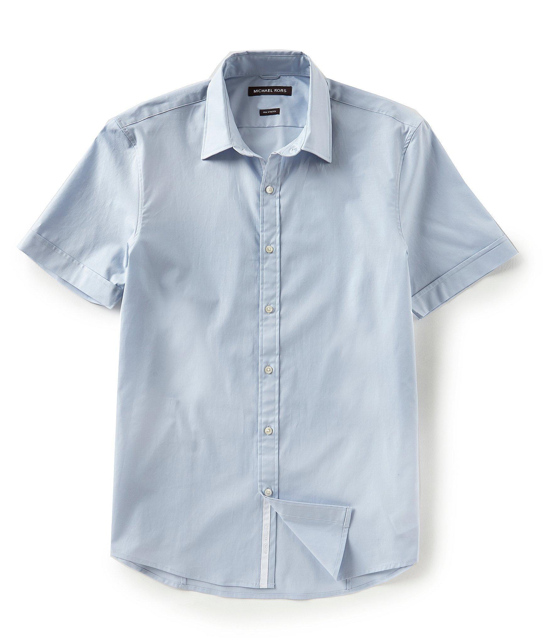 0b42e393eb5 Lyst - Michael Kors Slim-fit Solid Stretch Short-sleeve Woven Shirt ...