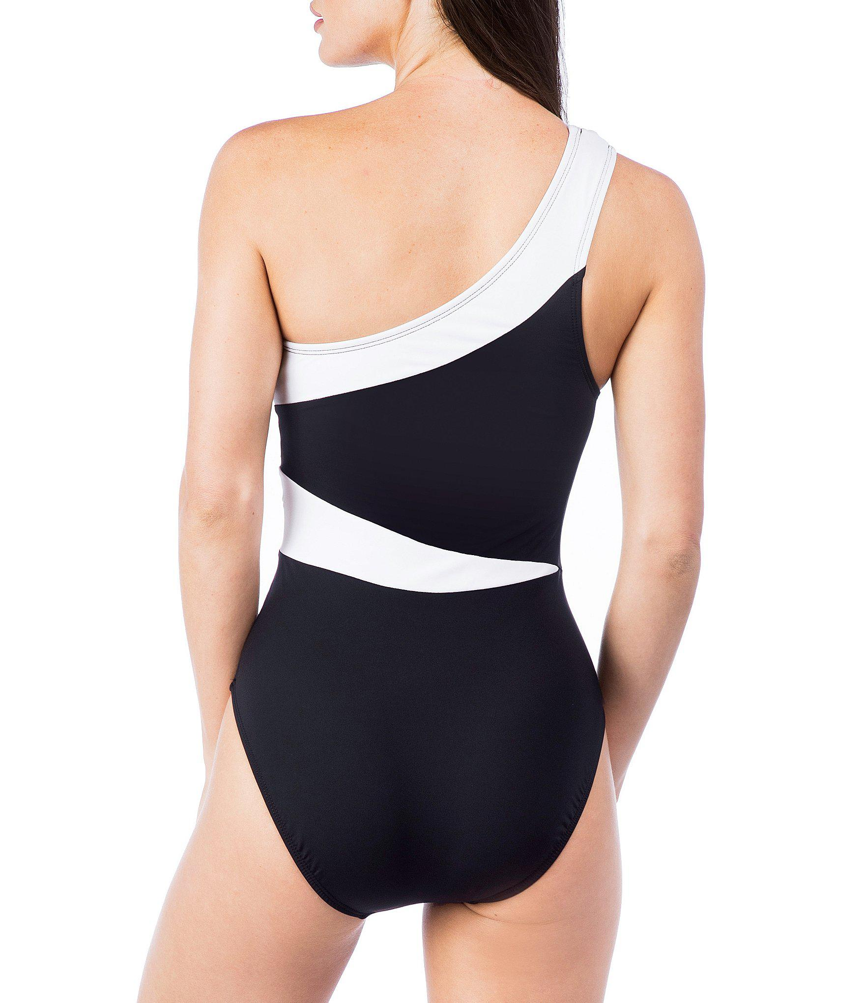7556fad255cec Kenneth Cole Sexy Solids One-shoulder Cut Out Tummy Control One ...