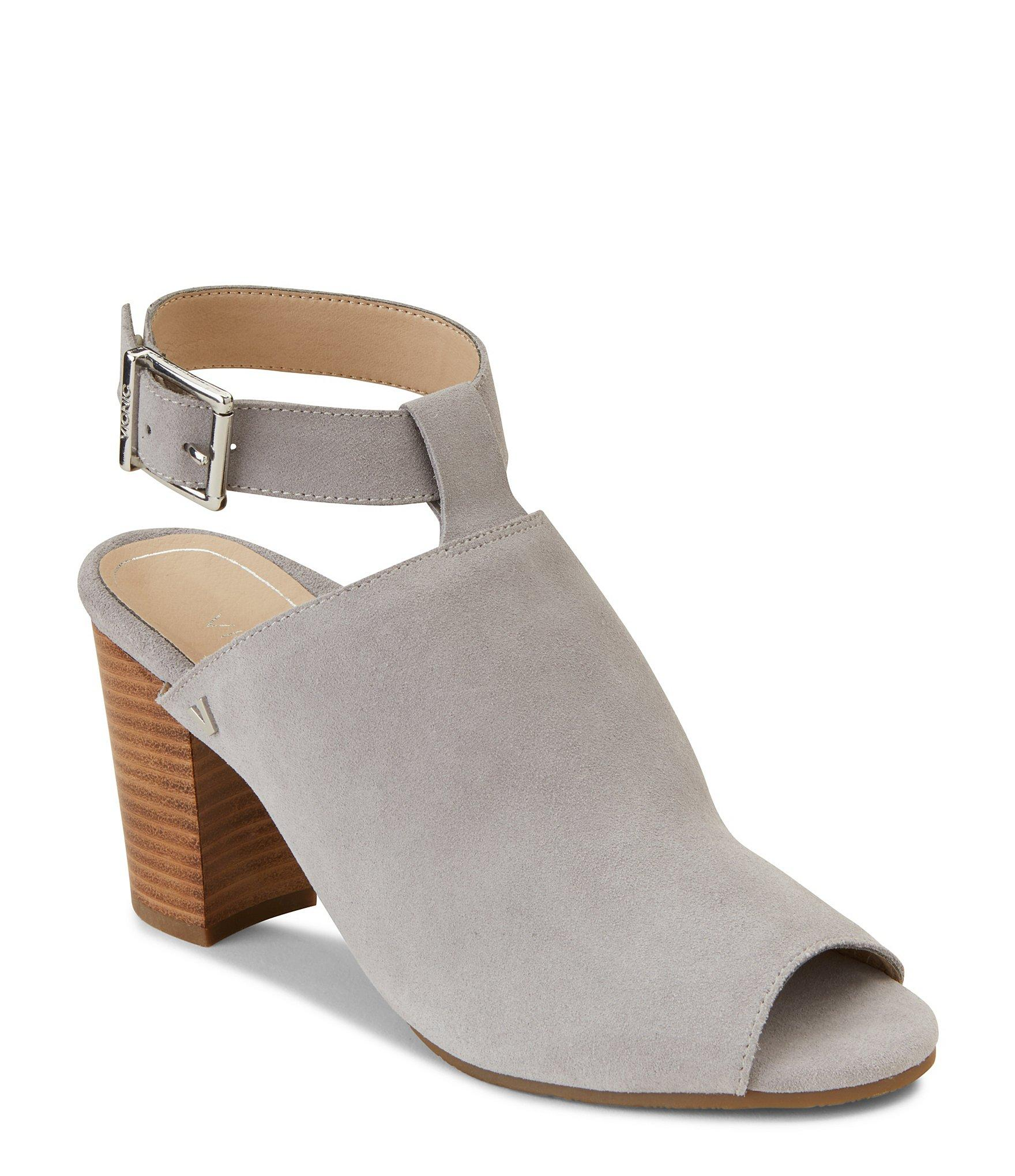 59e81ab0b84 Lyst - Vionic Kaia Suede Ankle Strap Block Heel Mules in Gray
