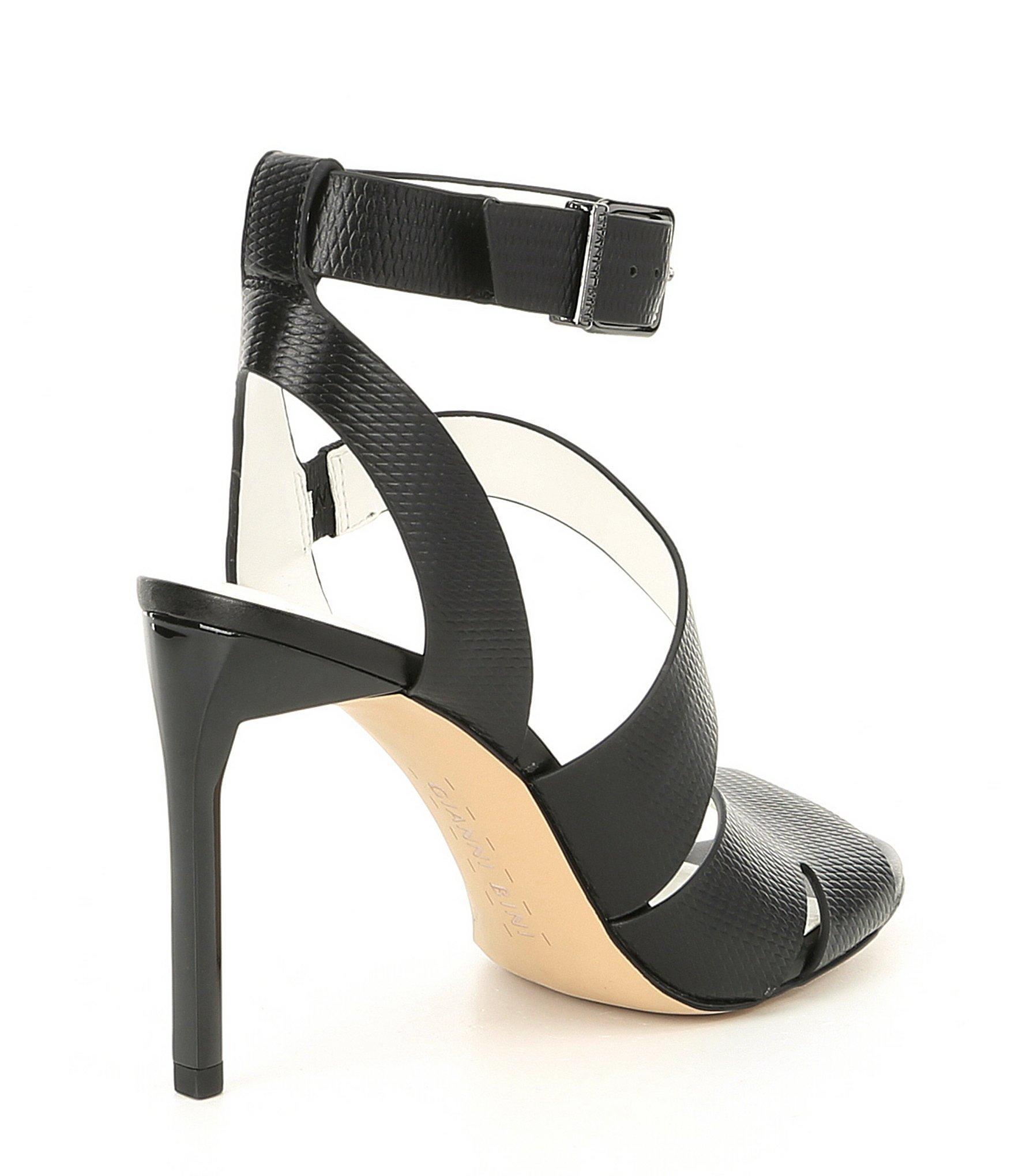 a29406b6f4a Gianni Bini - Black Adeena Asymmetrical Stamped Leather Dress Sandals - Lyst.  View fullscreen