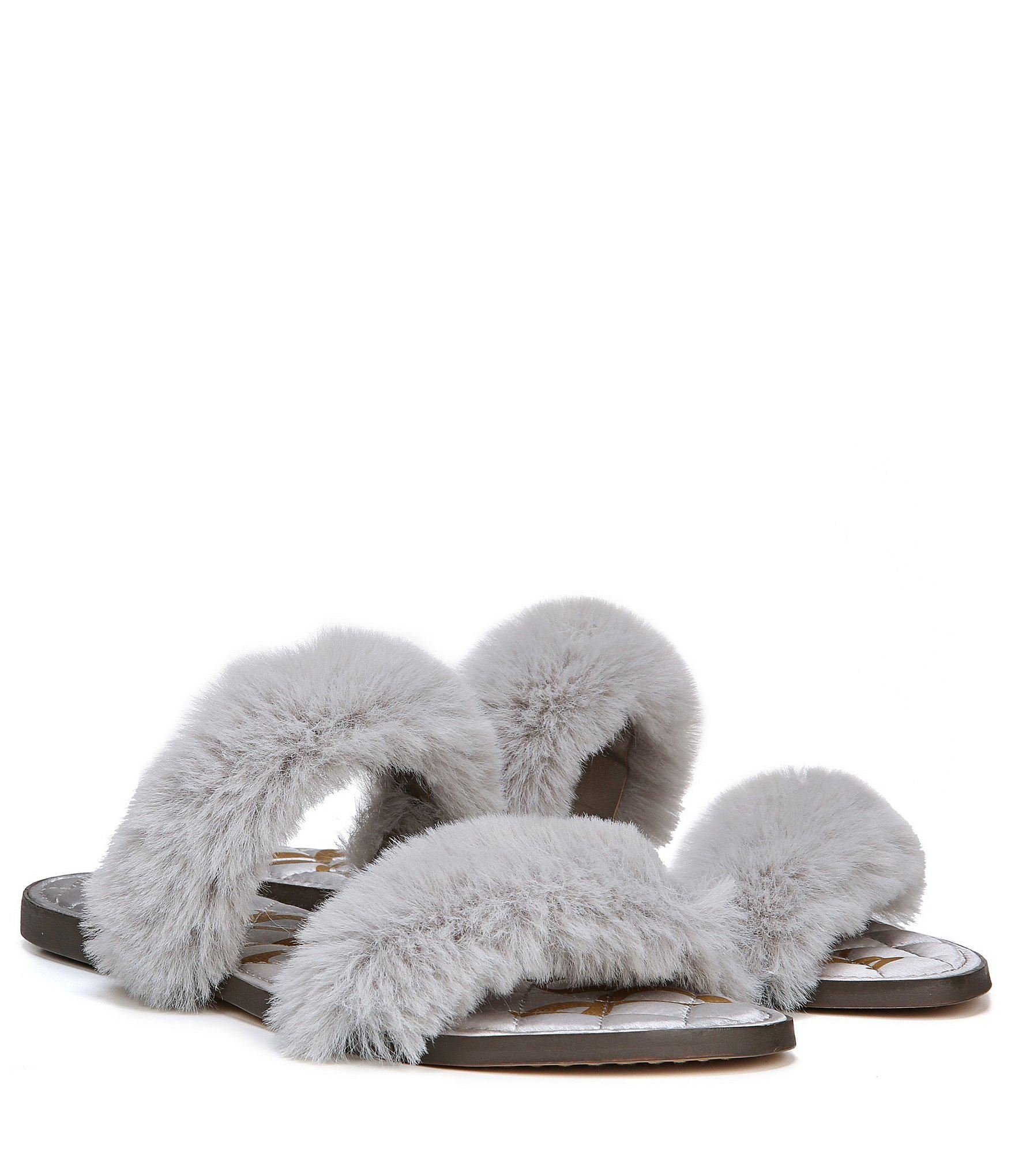 31832b3b681c Lyst - Sam Edelman Griselda Faux Fur Slip On Sandals in Gray