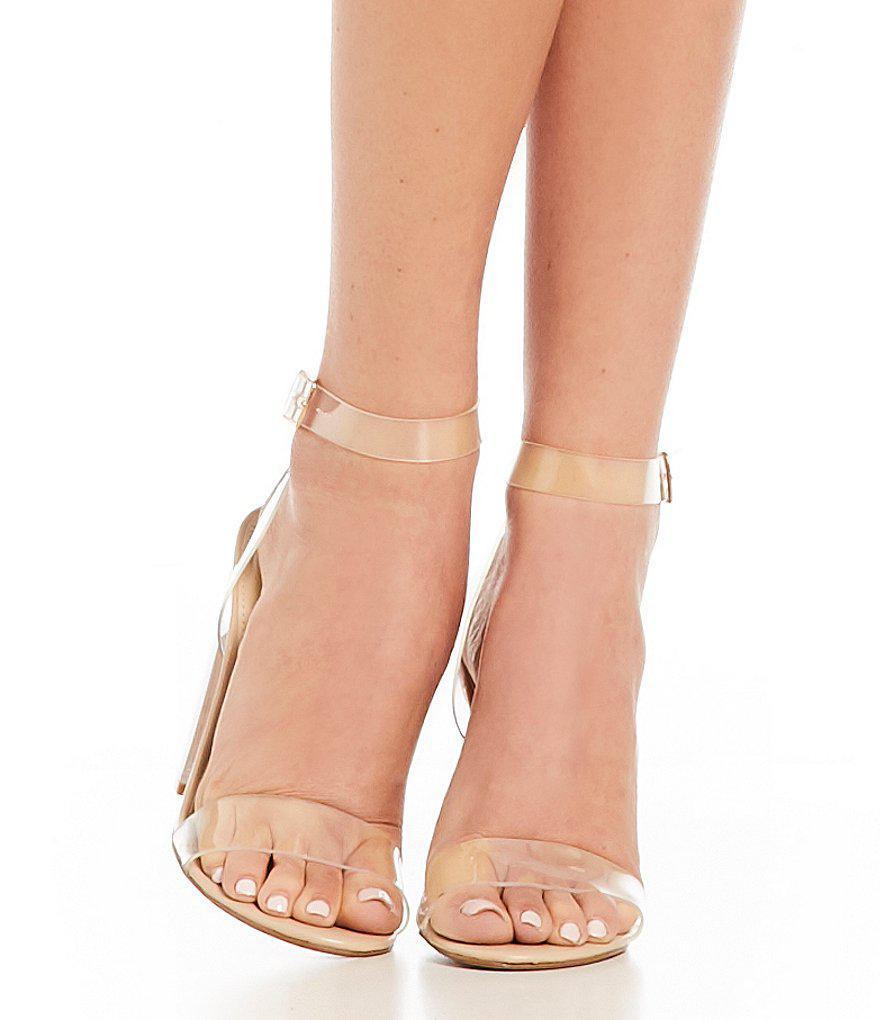 Steve Madden Camille Lucite Clear Block Heel Dress Sandals HUUU5kShK