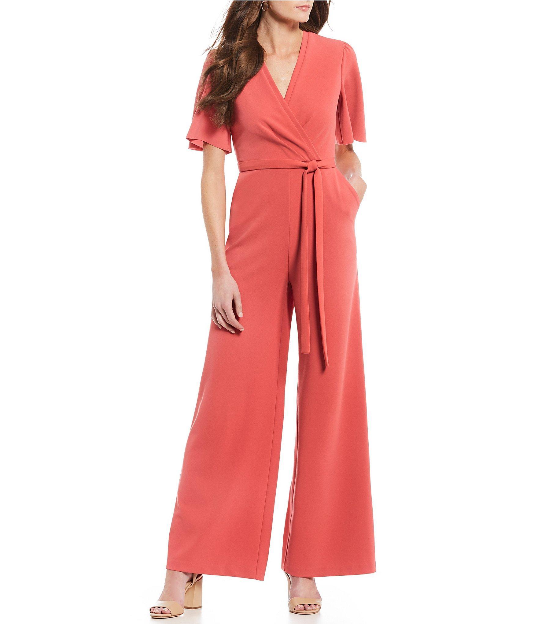 57bc1da375c Lyst - Donna Morgan V Neck Tie Waist Wide Leg Faux Wrap Jumpsuit in Red