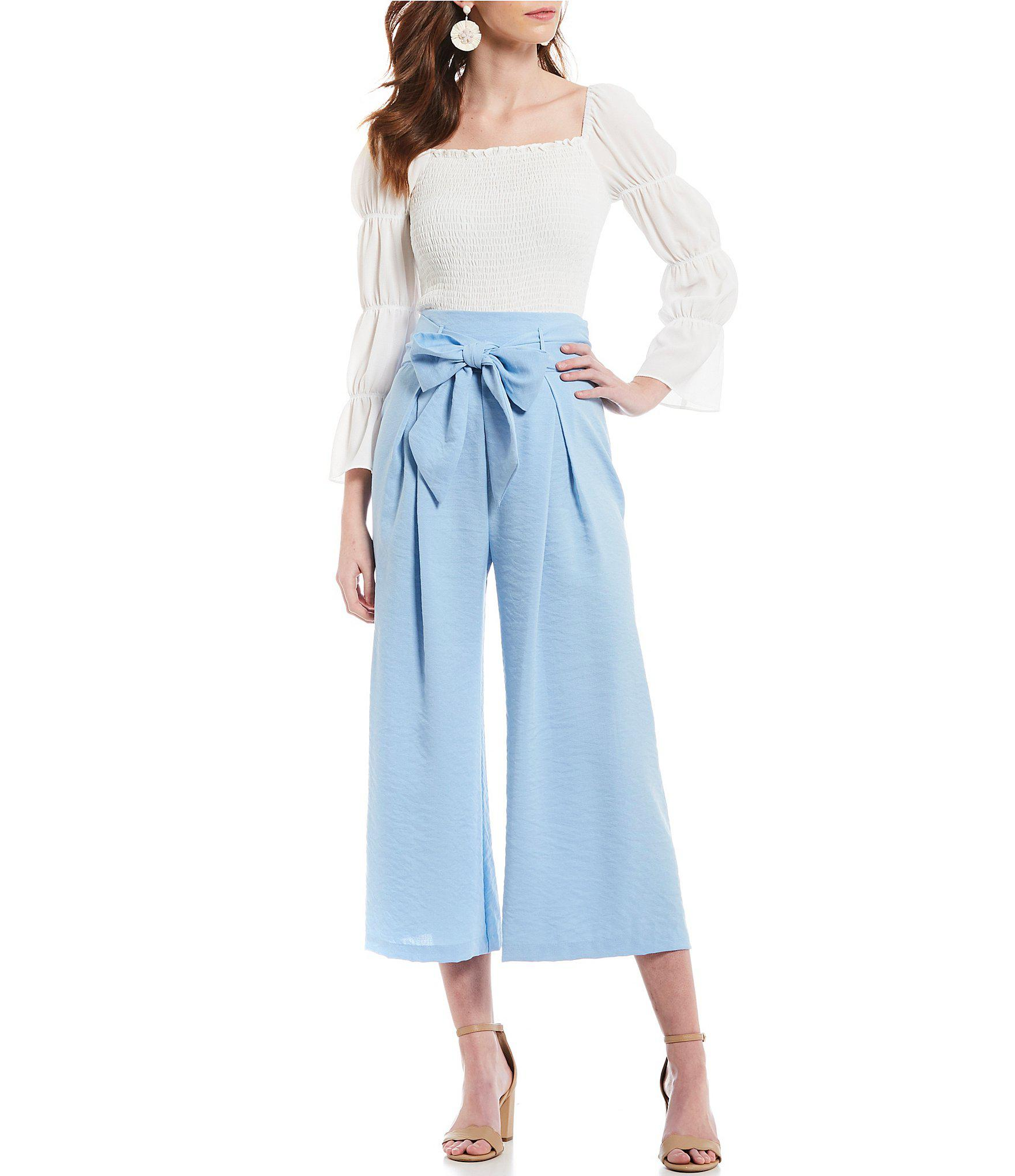 cf4a104f854338 Lyst - Sugarlips Paperbag High Rise Tie Waist Culotte Pant in Blue