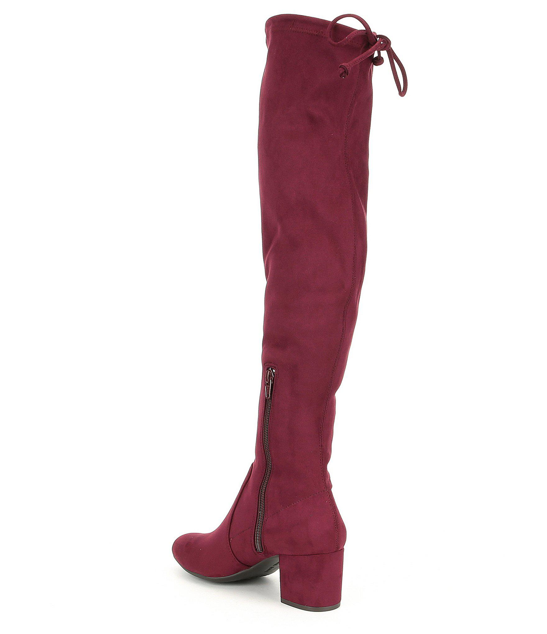 e9f729ad48a Lyst - Gianni Bini Trillia Block Heel Stretch Over The Knee Boots in Red