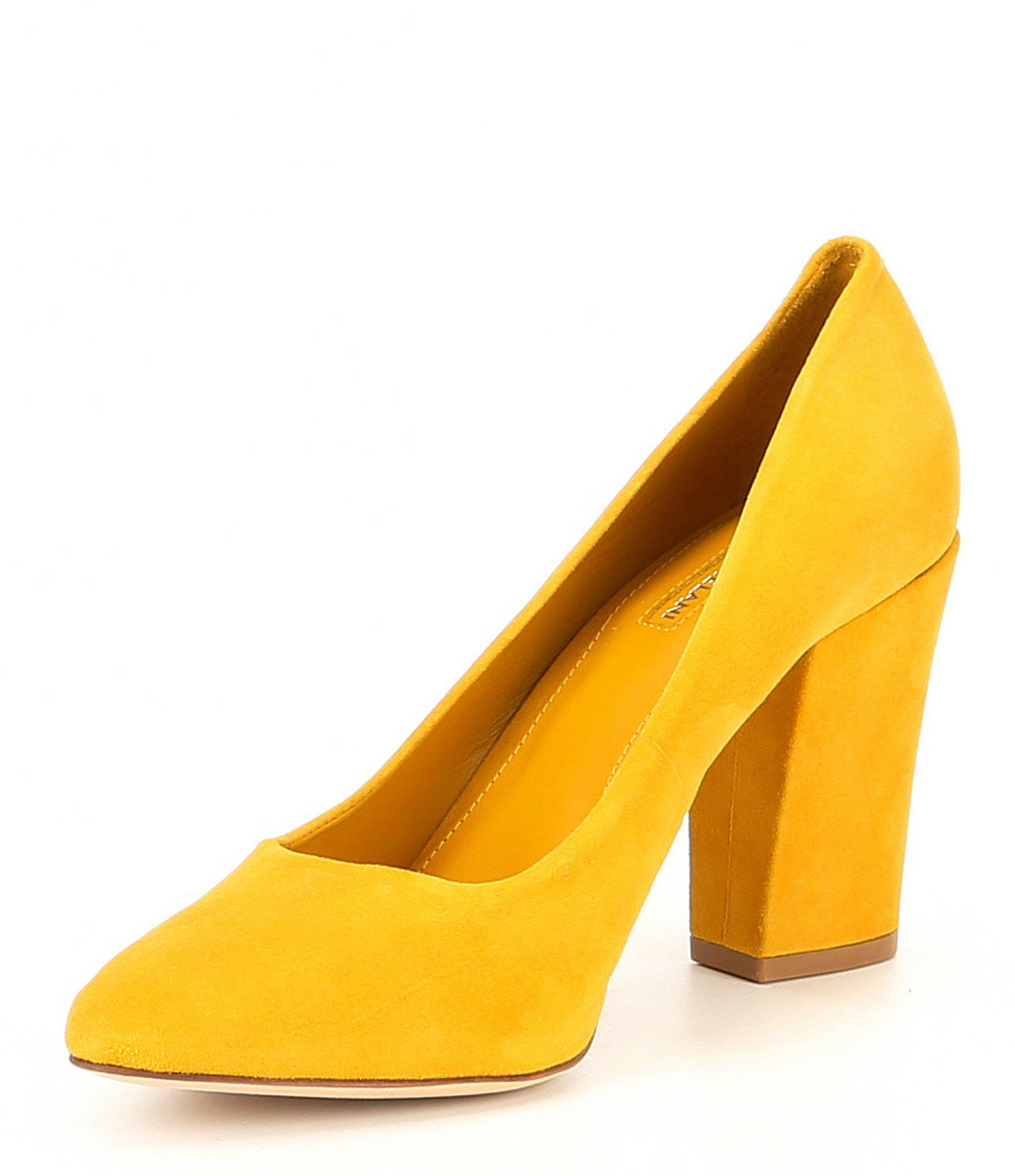 d8d110ca47dd Lyst - Antonio Melani Valo Suede Block Heel Pumps in Yellow