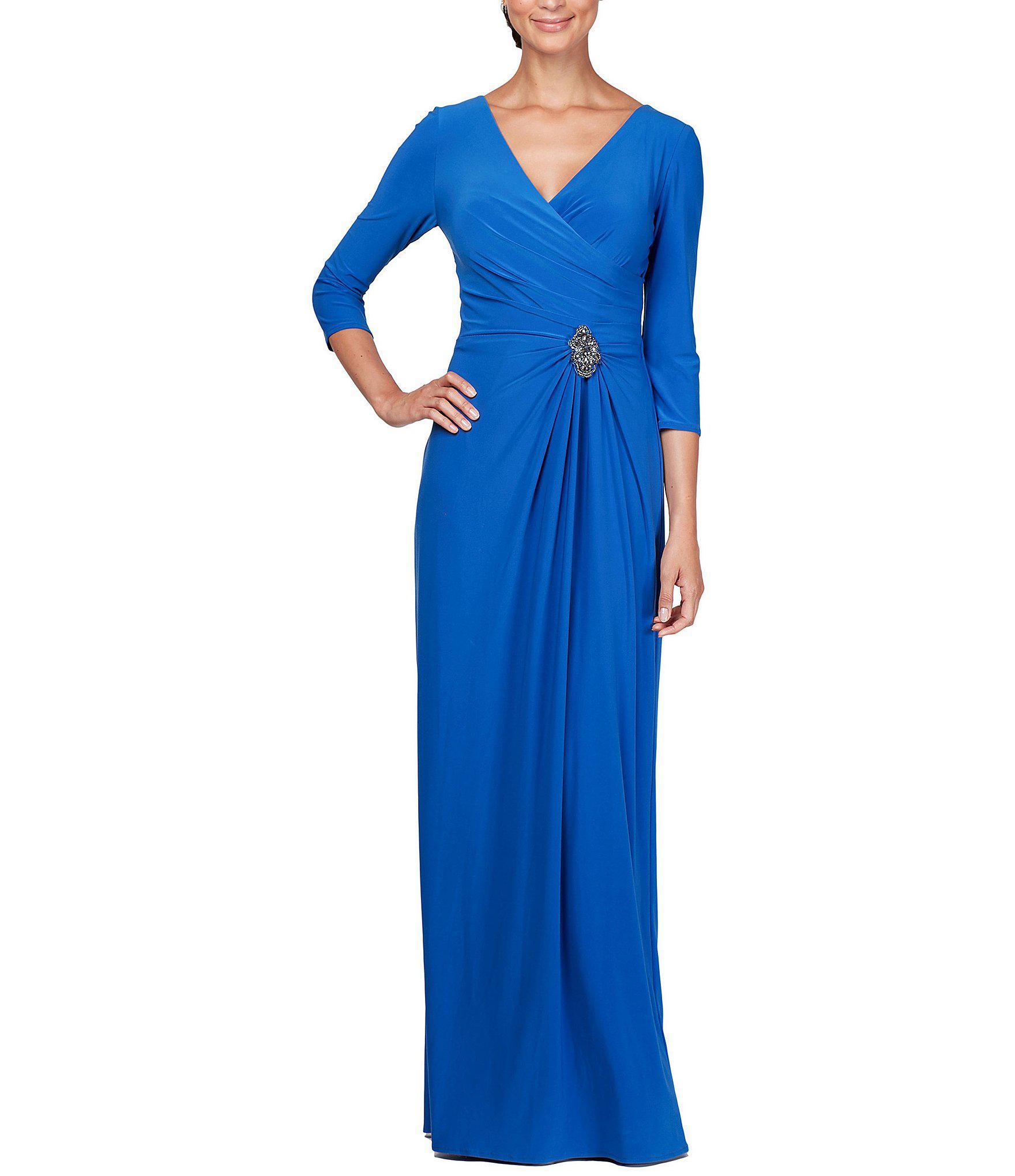 e44429837ba Alex Evenings. Women s Blue Petite Size V-neck Embellished Waist Draped ...