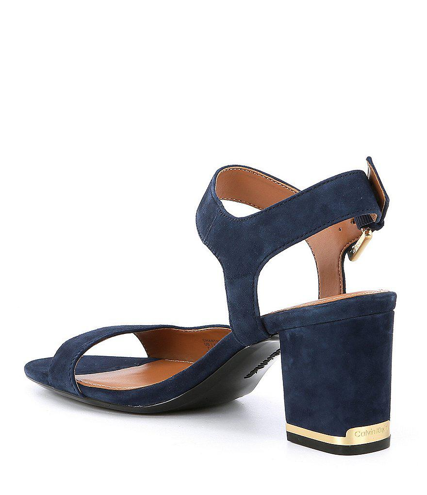 Calvin Klein Chantay Suede Block Heel Dress Sandals