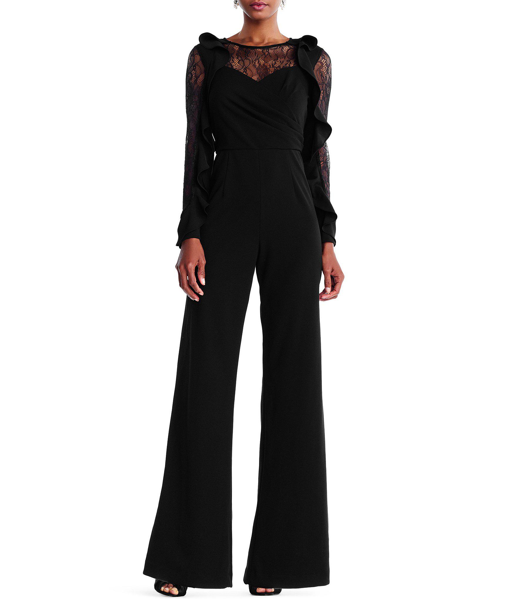 3c85adef4ec Lyst - Adrianna Papell Ruffled Sleeve Jumpsuit in Black