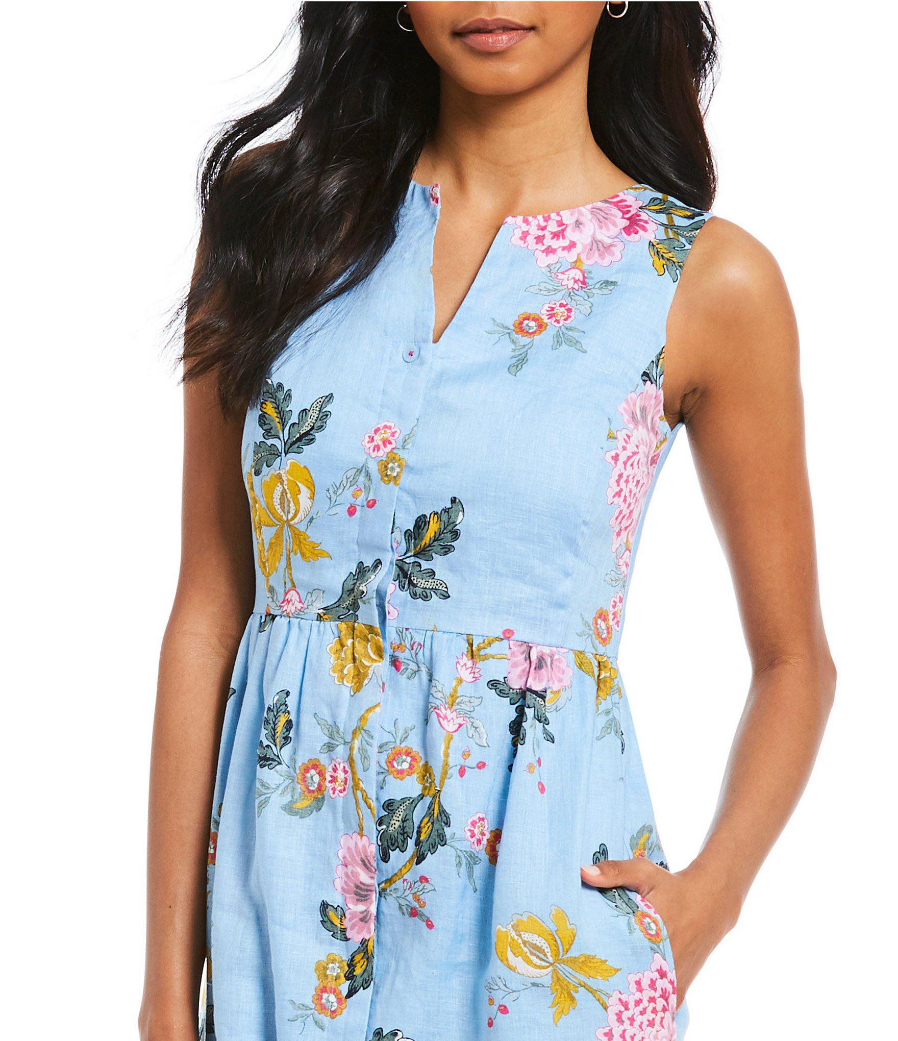 9f9d1e0c629 Joules Lisia Sleeveless Floral Print Button Down Dress in Blue - Lyst