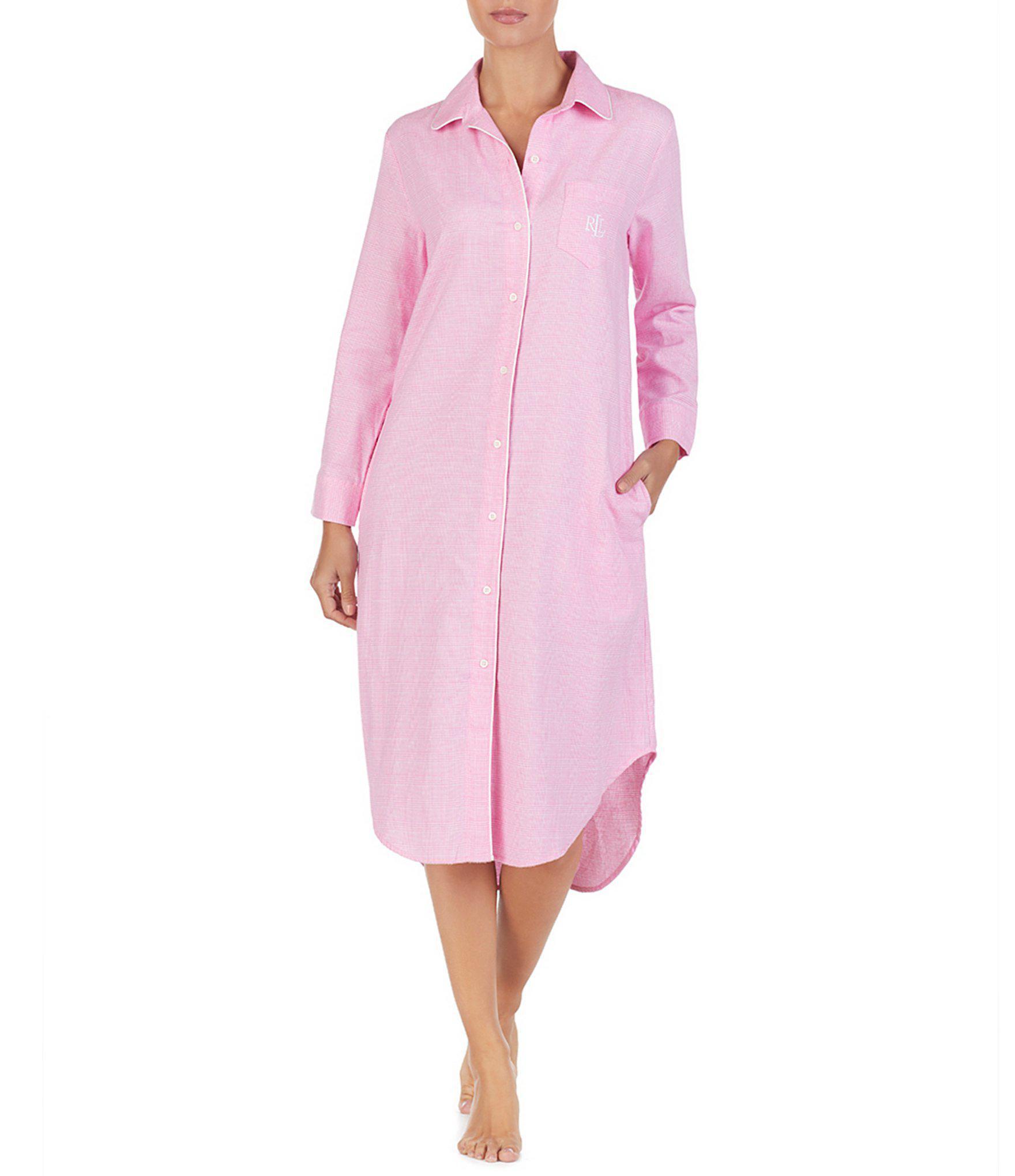 Lauren by Ralph Lauren. Women s Pink Plaid Print Brushed Twill Maxi Sleep  Shirt 316835a06