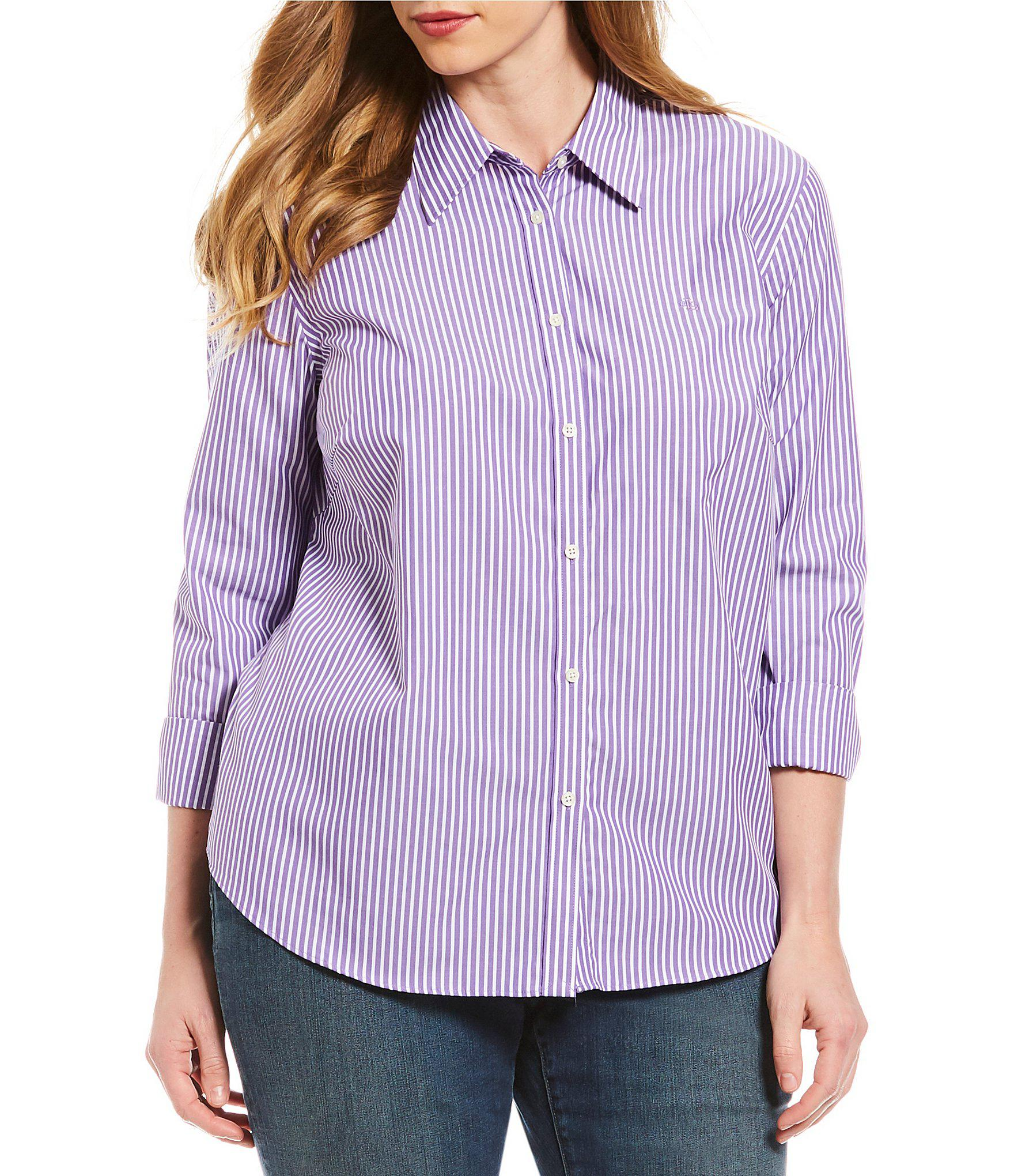 d635a89aa37 Lyst - Lauren by Ralph Lauren Plus Size Cotton Button-down Shirt in ...