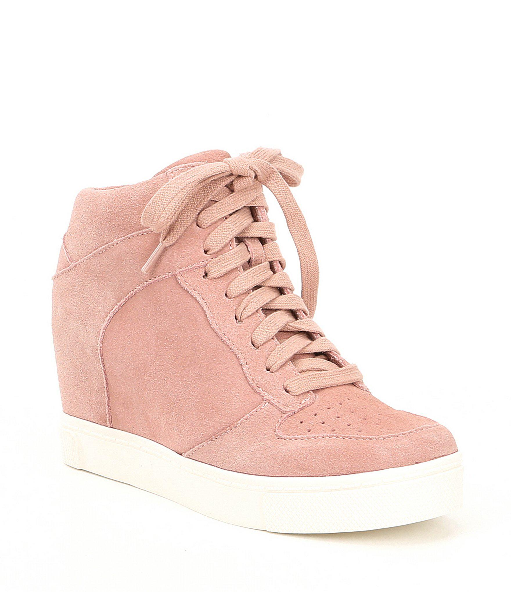 ff45aaccbd6 Lyst - Steve Madden Noah Suede Lace Up Wedge Sneakers in Pink