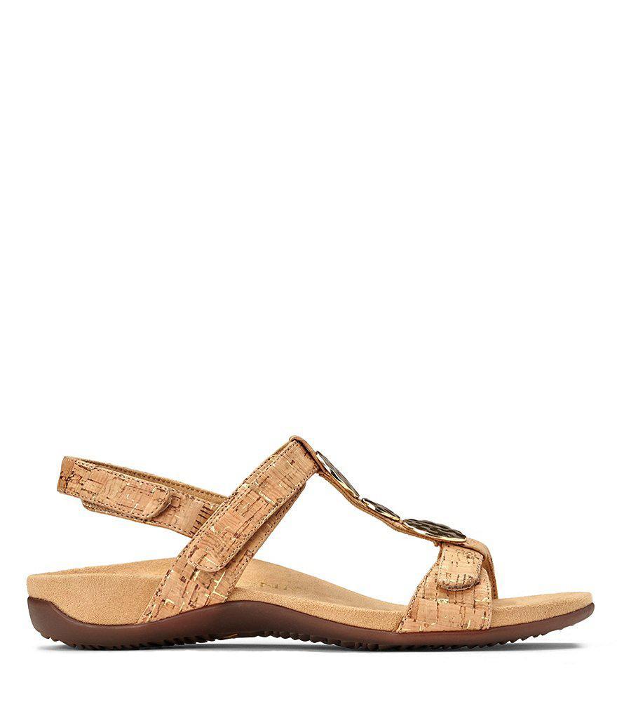 Vionic Rest Farra Cork Metallic Ornament T-Strap Sandals XboQZr