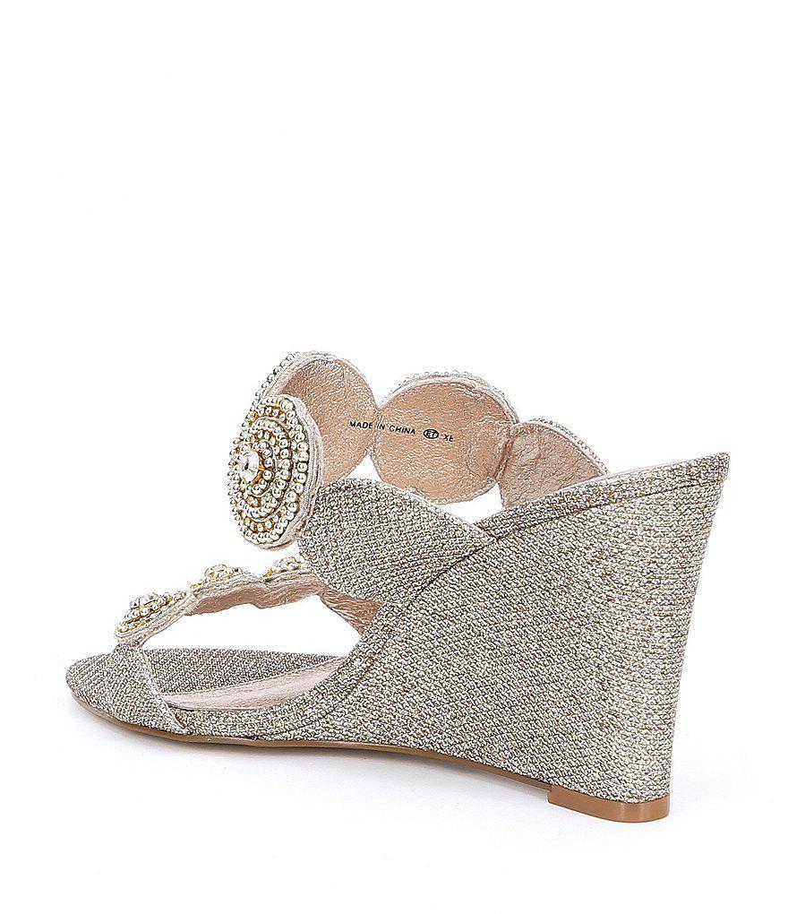 Adrianna Papell Argo Metallic Jeweled Wedge Sandals fF2ZK
