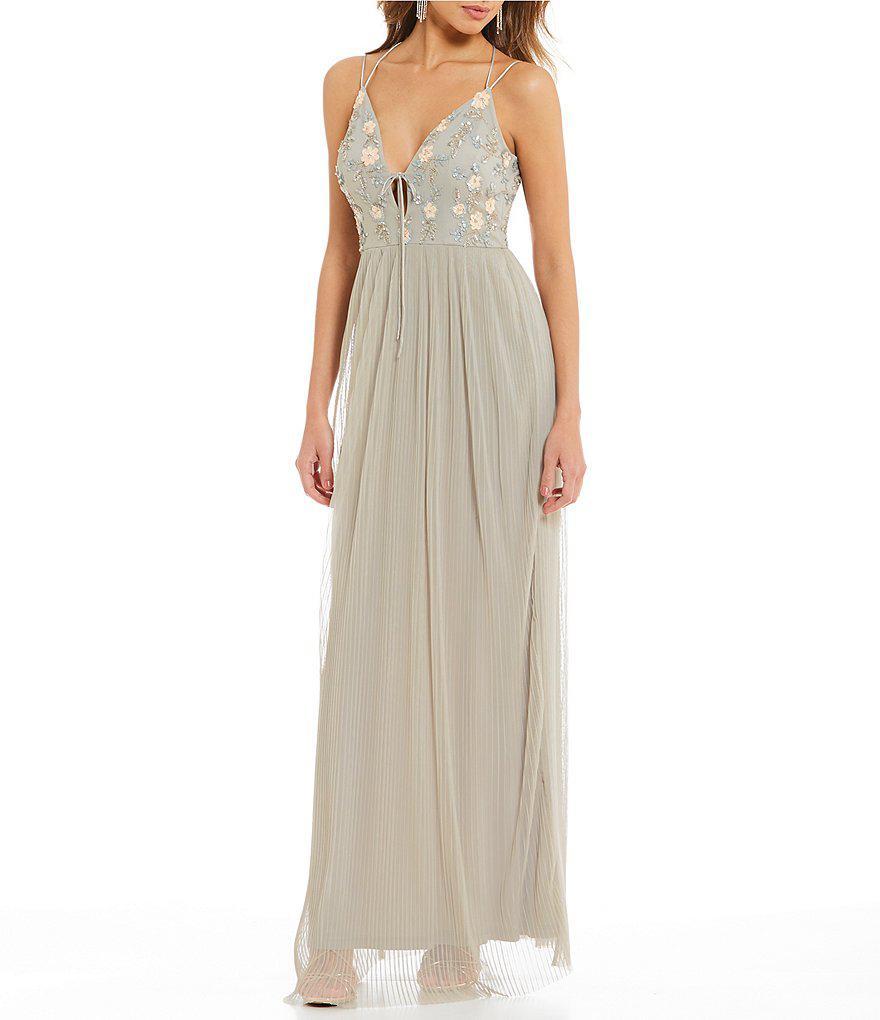 3492c51029 Gianni Bini Cara Pleated Gown in Gray - Lyst