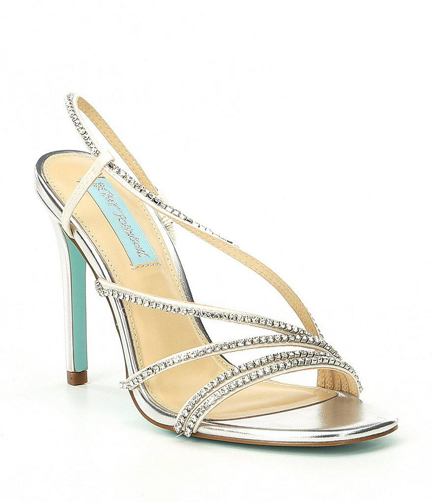 Betsey Johnson Blue by Betsey Johnson Sami Jeweled Translucent Strap Metallic Block Heel Dress Sandals lcGYoFy