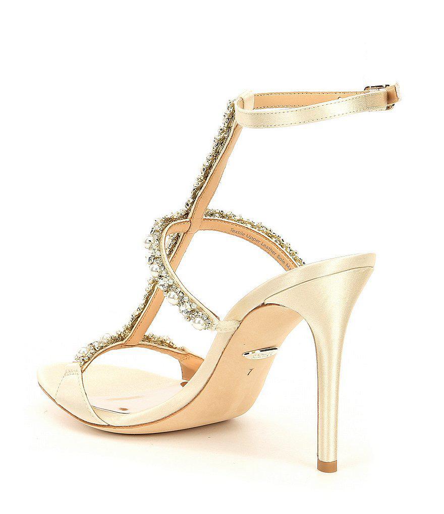 Yuliana Metallic Satin Jeweled Strappy Dress Sandals 2IrYUVPr1f