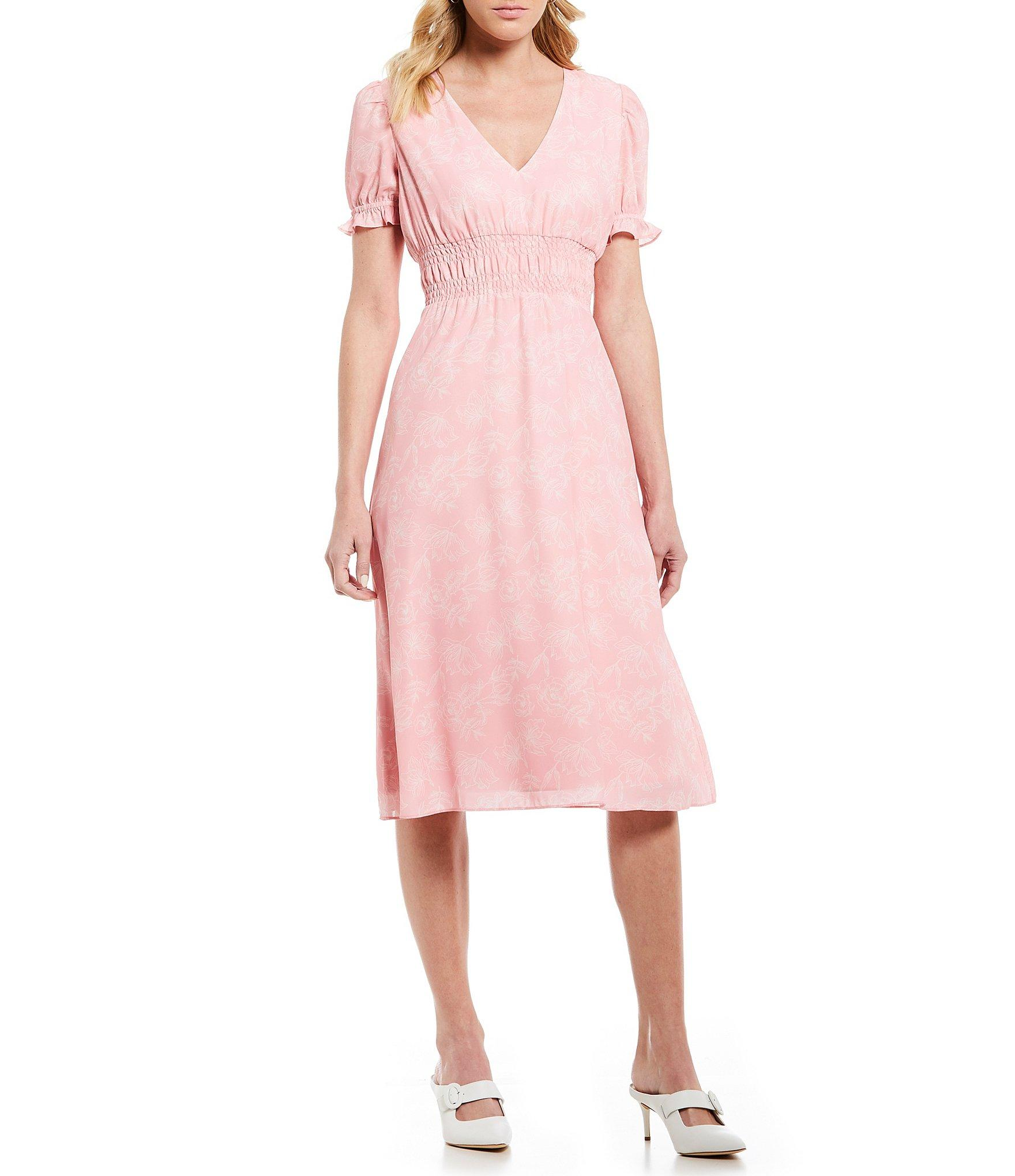 1f329ccadf7e Gianni Bini. Women s Pink Alice Floral Print V-neck Puff Sleeve Smocked  Waist A-line Midi Dress