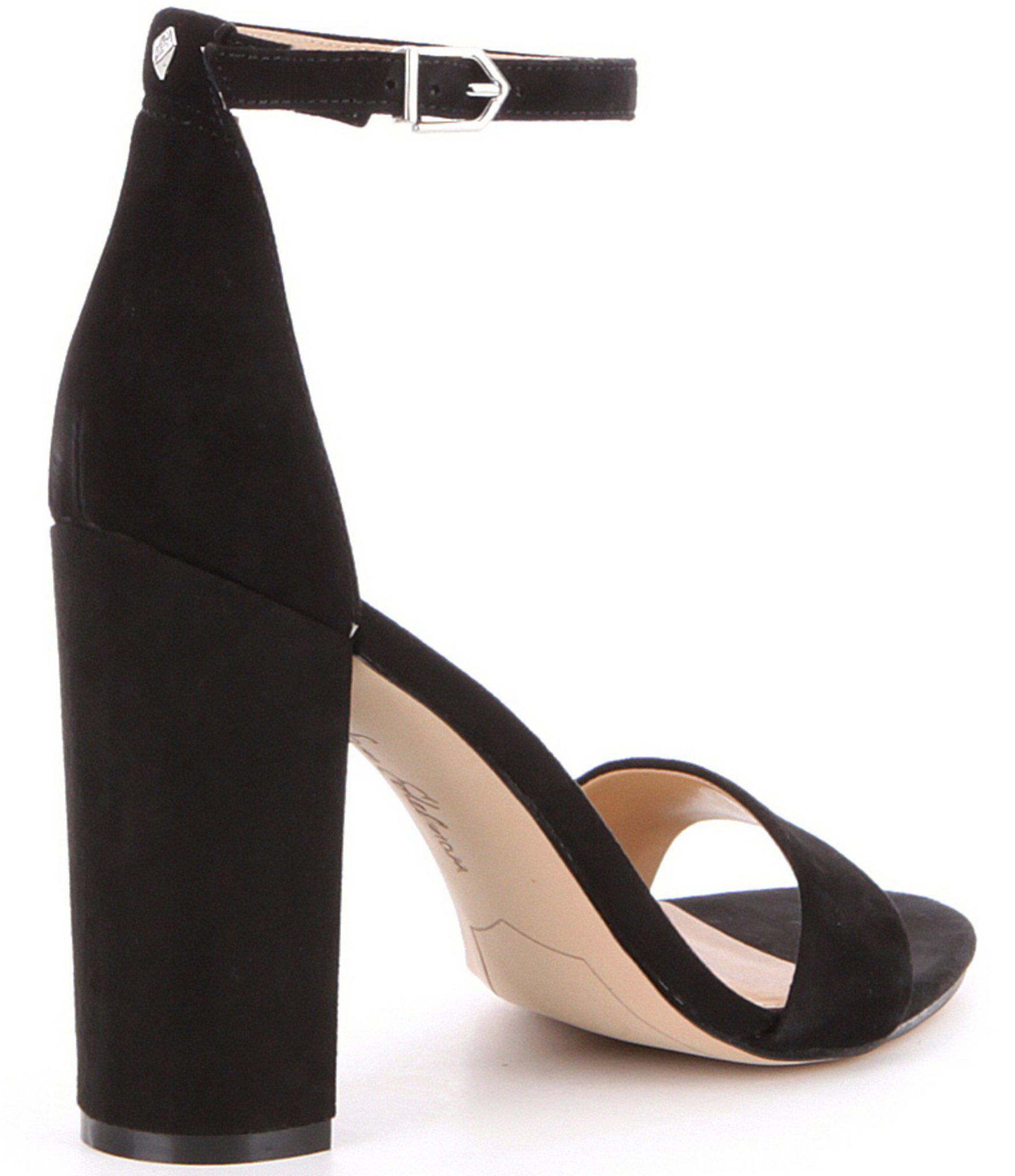 74bd20acb1f1b4 Sam Edelman - Black Yaro Suede Ankle Strap Block Heel Dress Sandals - Lyst.  View fullscreen