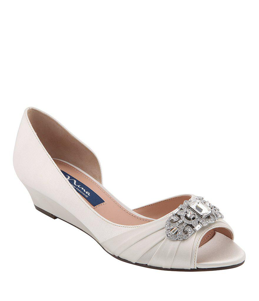 3537451bd Lyst - Nina Radha Satin Swarovski Crystal Brooch Peep-toe Dress Wedges