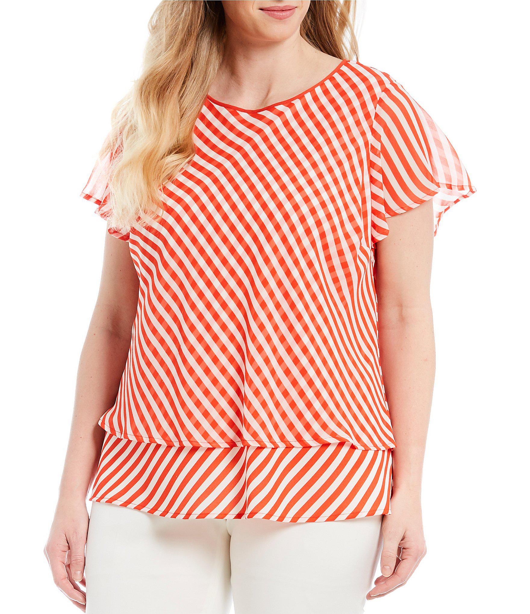 72c47e8889074f Lyst - Vince Camuto Plus Size Simple Stripe Blouse in Red