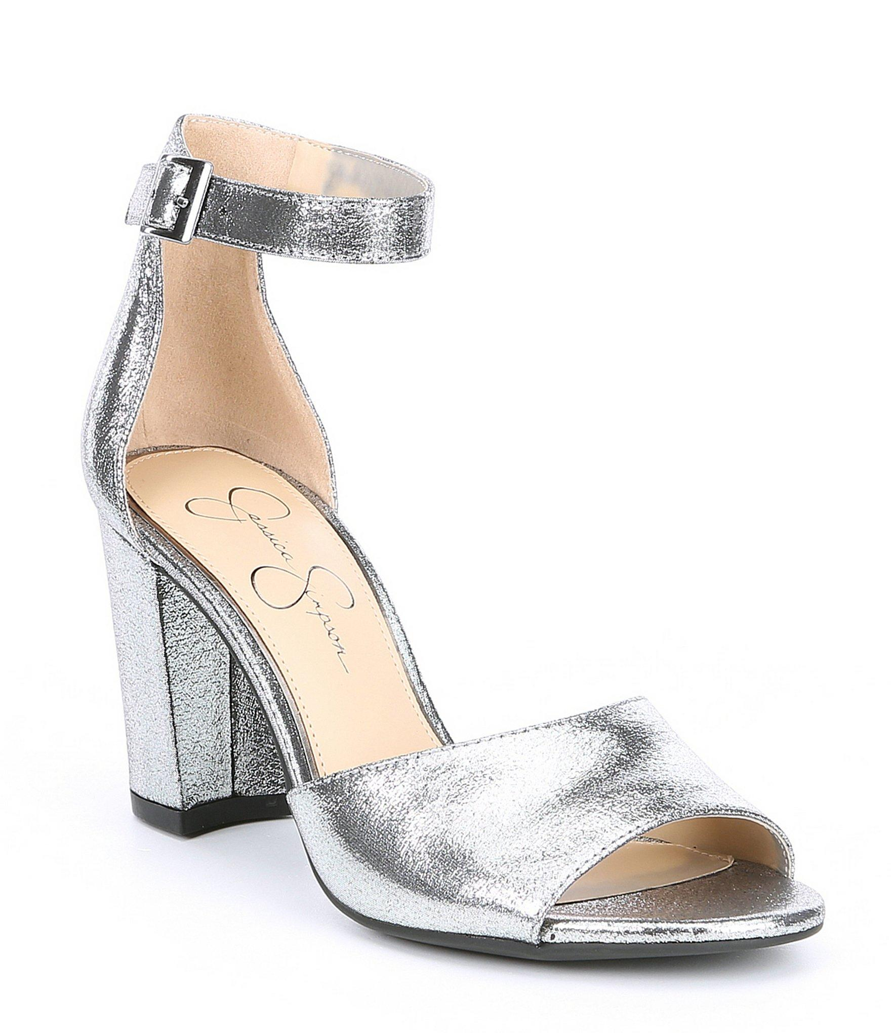 116e3b82e505 Jessica Simpson. Women s Sherron Metallic Ankle Strap Block Heel Sandals