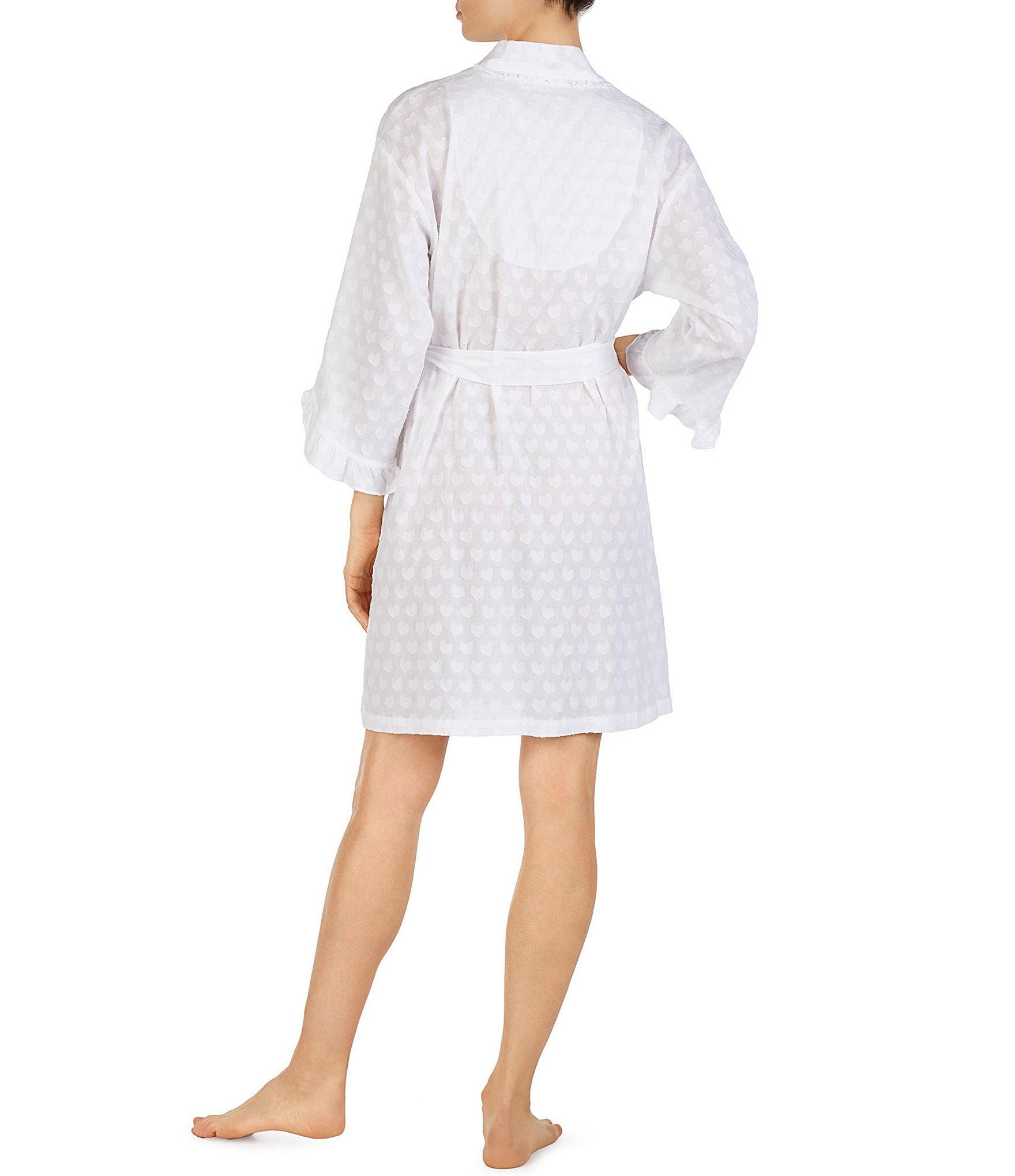 f050b31da7 Eileen West - White Lawn Heart Print Short Wrap Robe - Lyst. View fullscreen