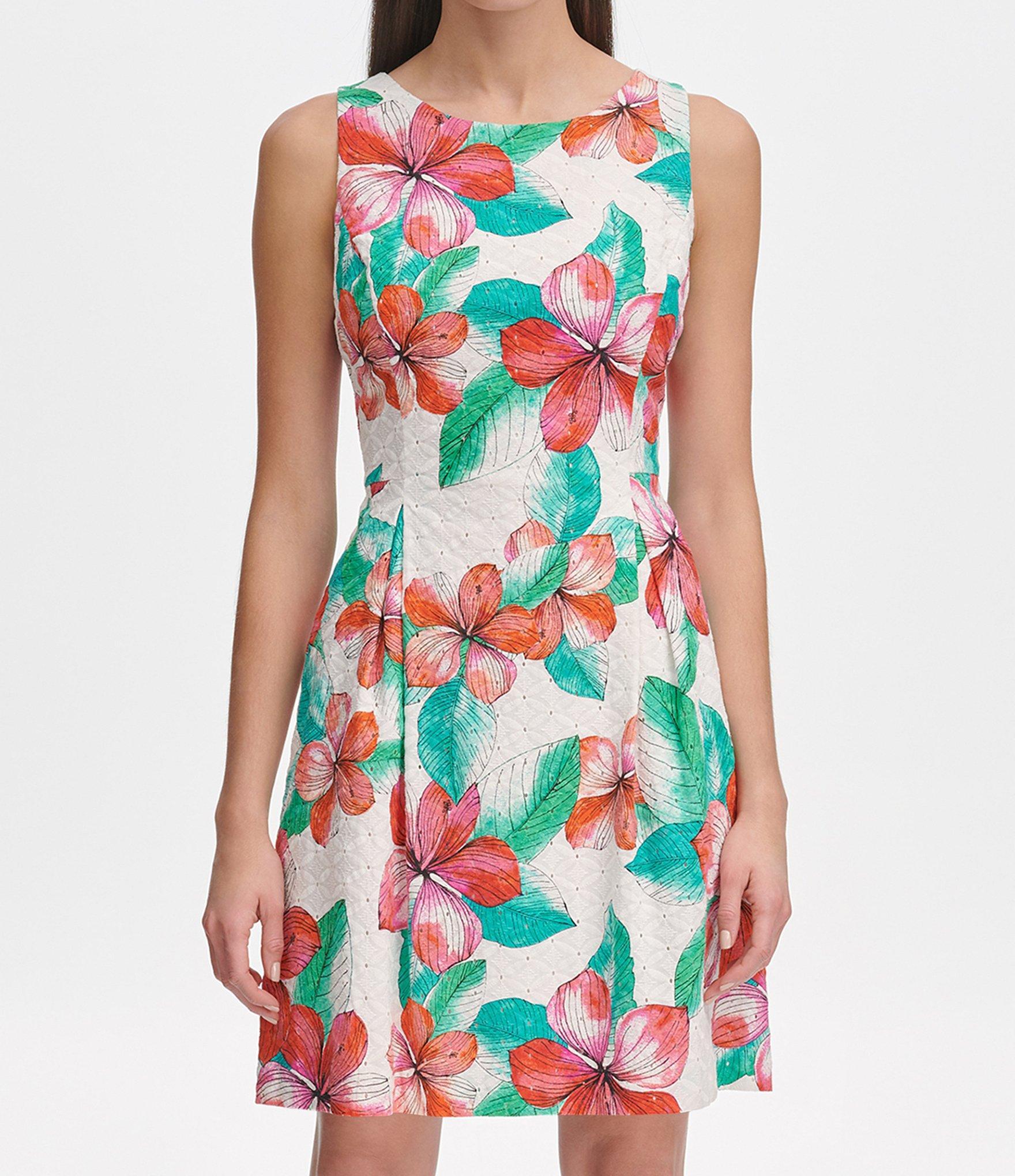 2af91556faf24 Tommy Hilfiger - White Eyelet Hibiscus Floral Print Fit & Flare Dress -  Lyst. View fullscreen