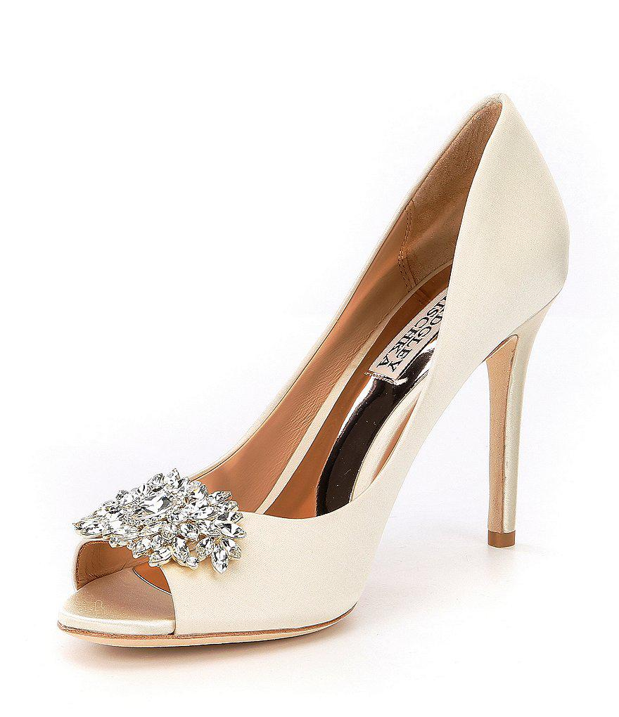 Paloma Rhinestone Jeweled Satin Peep Toe Pumps zi20G9