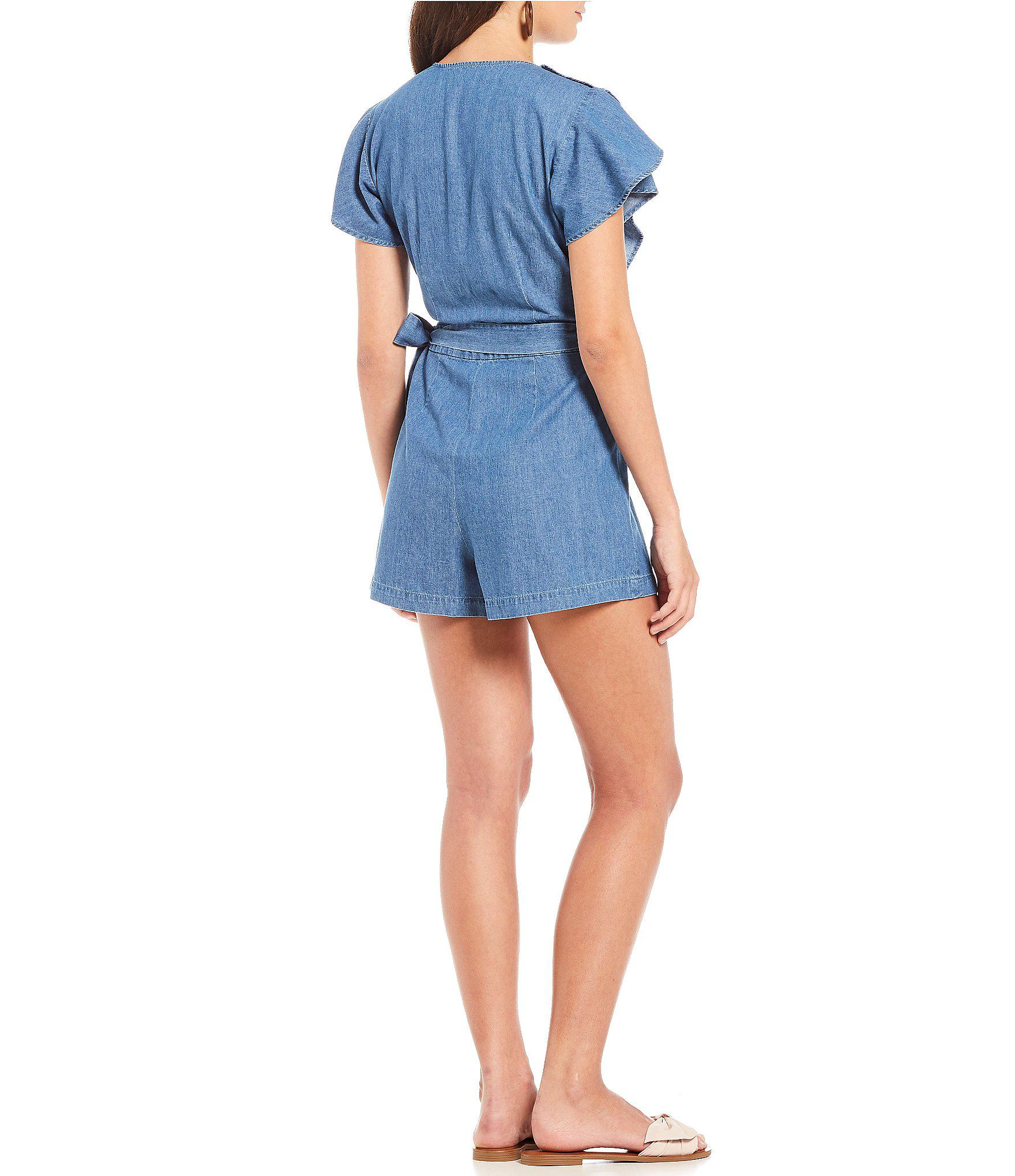 30c3663f903 Lyst - Draper James Chambray Flutter Ruffle Romper in Blue