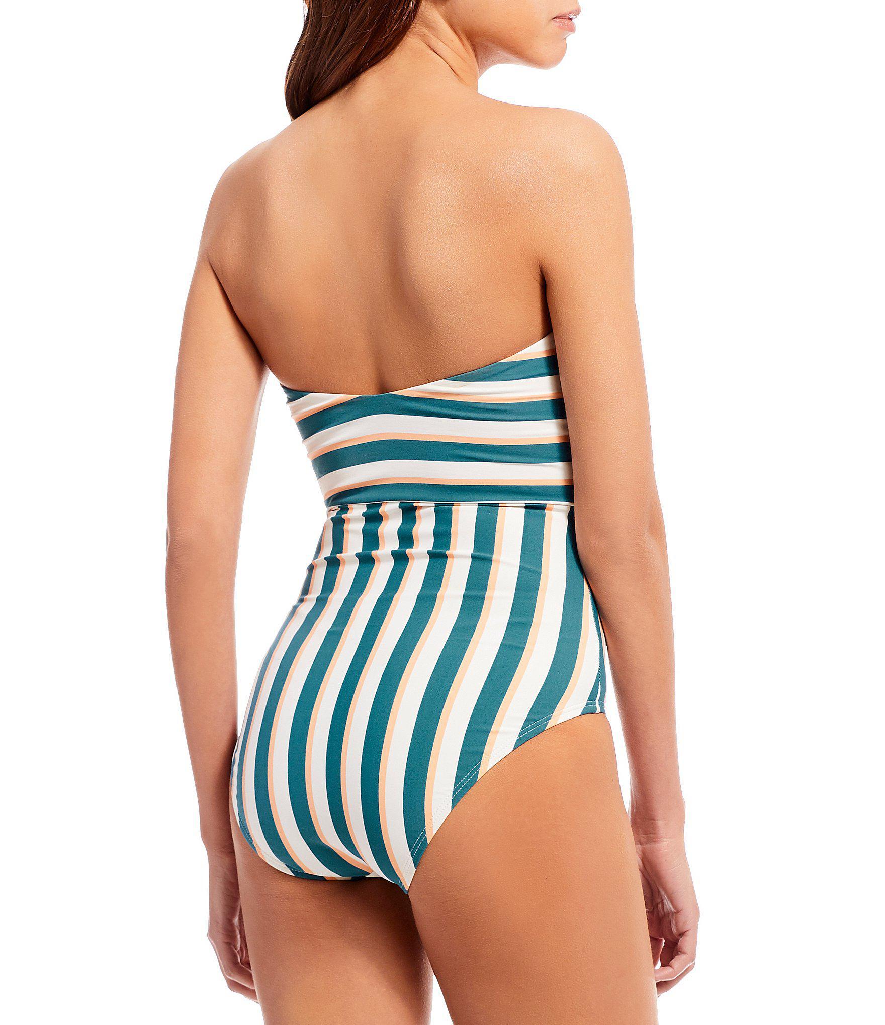 8142ab49ea Gianni Bini Retrophilia Stripe Bandeau Knot One-piece Swimsuit in ...
