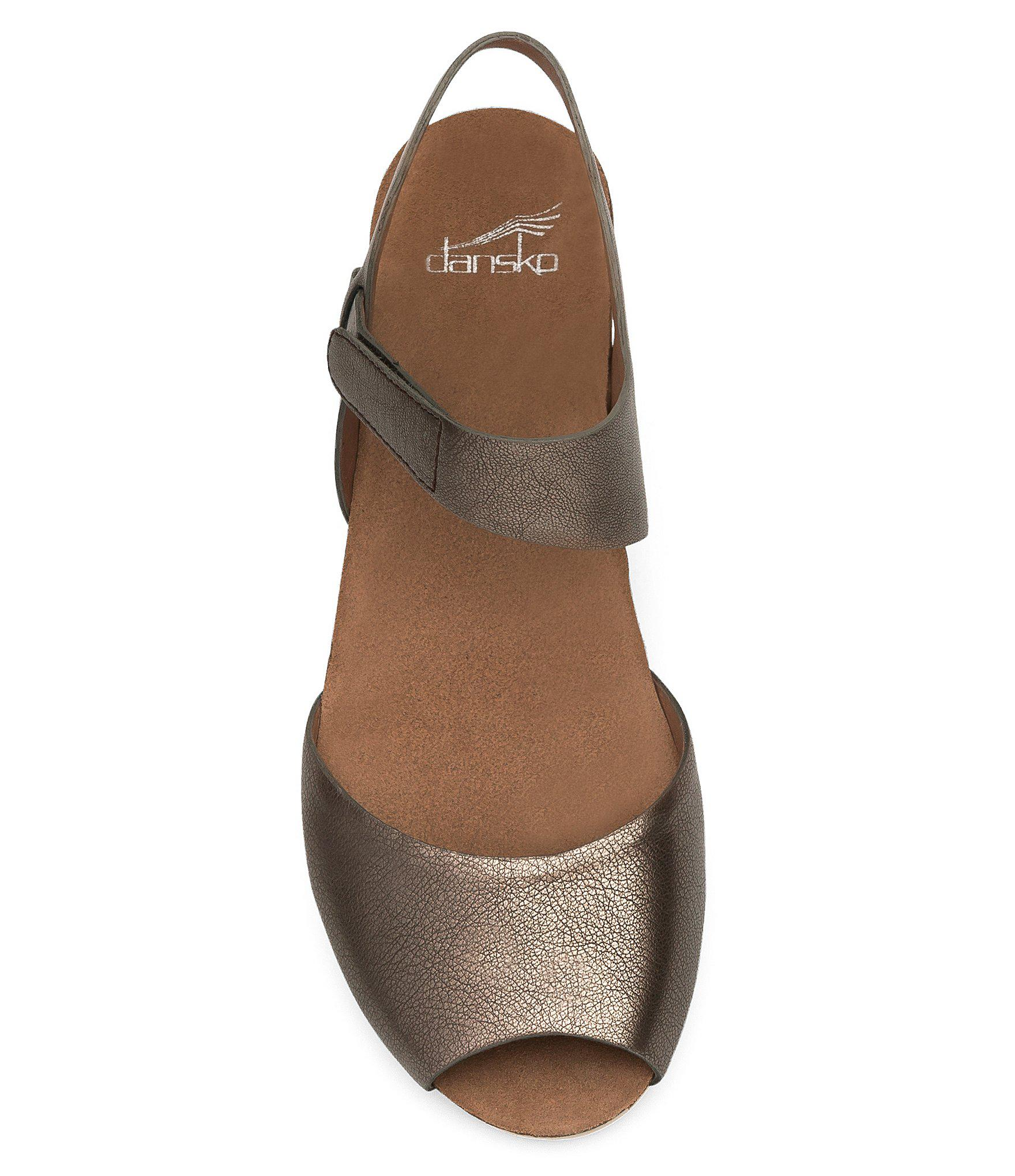 e78a2e54c043 Dansko - Multicolor Vera Metallic Nappa Leather Banded Ankle Strap Wedge  Sandals - Lyst. View fullscreen