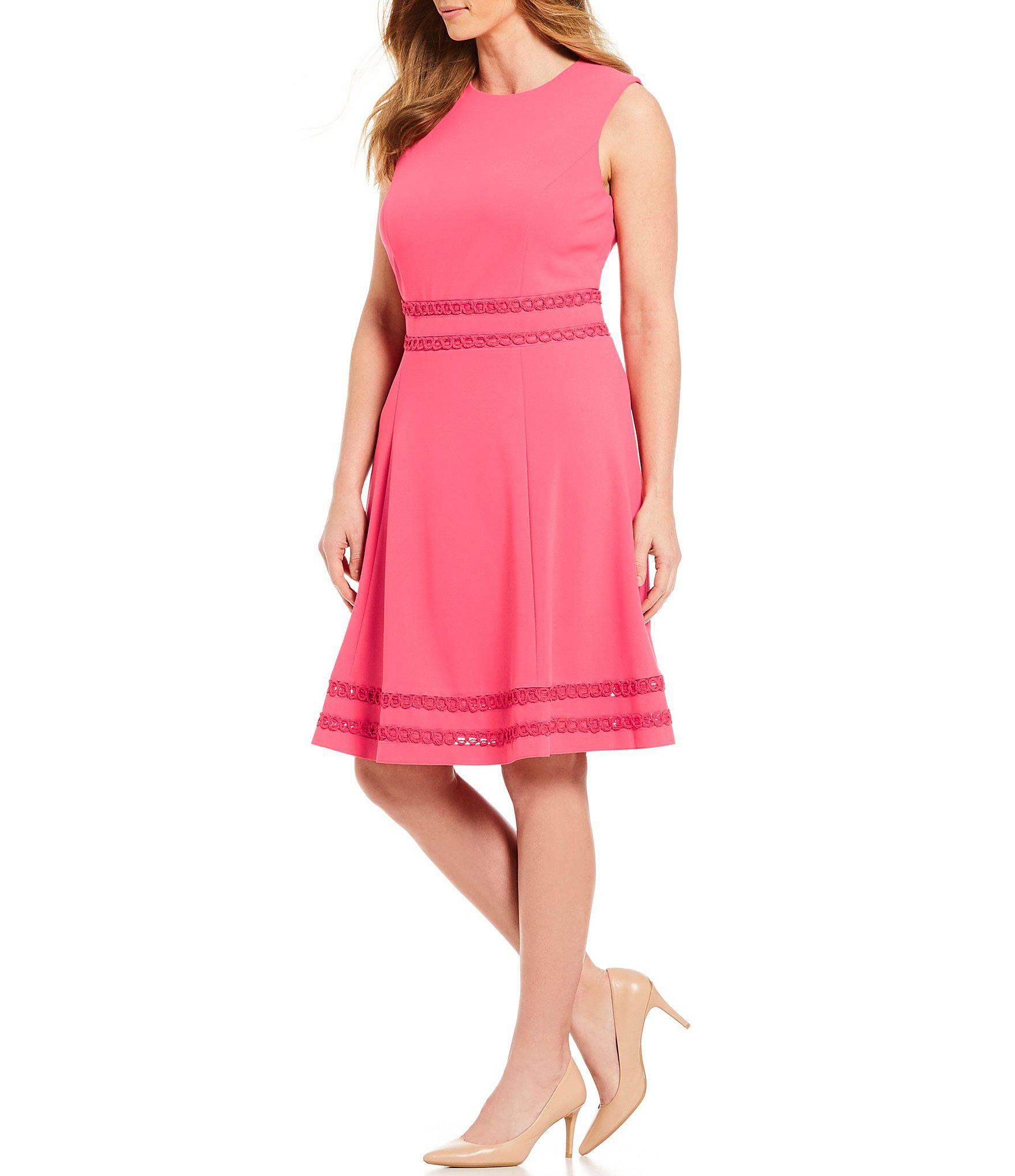 cc25f4de148 Calvin Klein Plus Size Lace Trim A-line Dress in Pink - Lyst