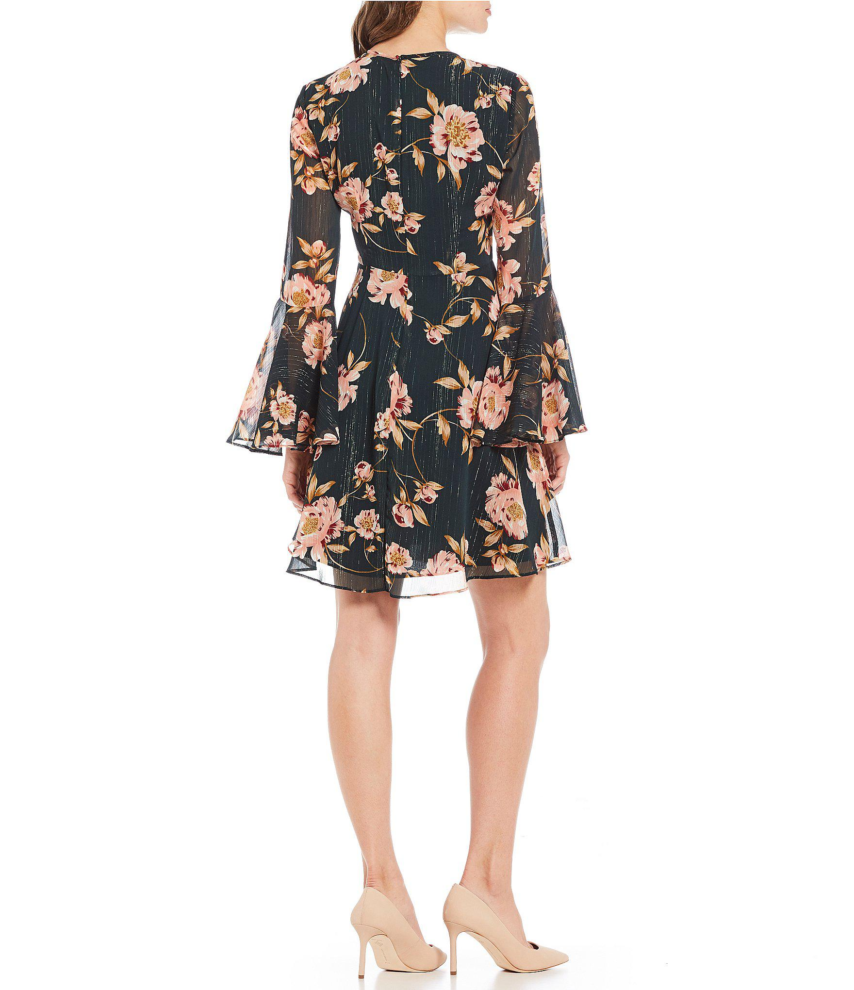 5a75a90598df1 Donna Morgan Floral Print Bell Sleeve Lurex Chiffon Dress in Black ...