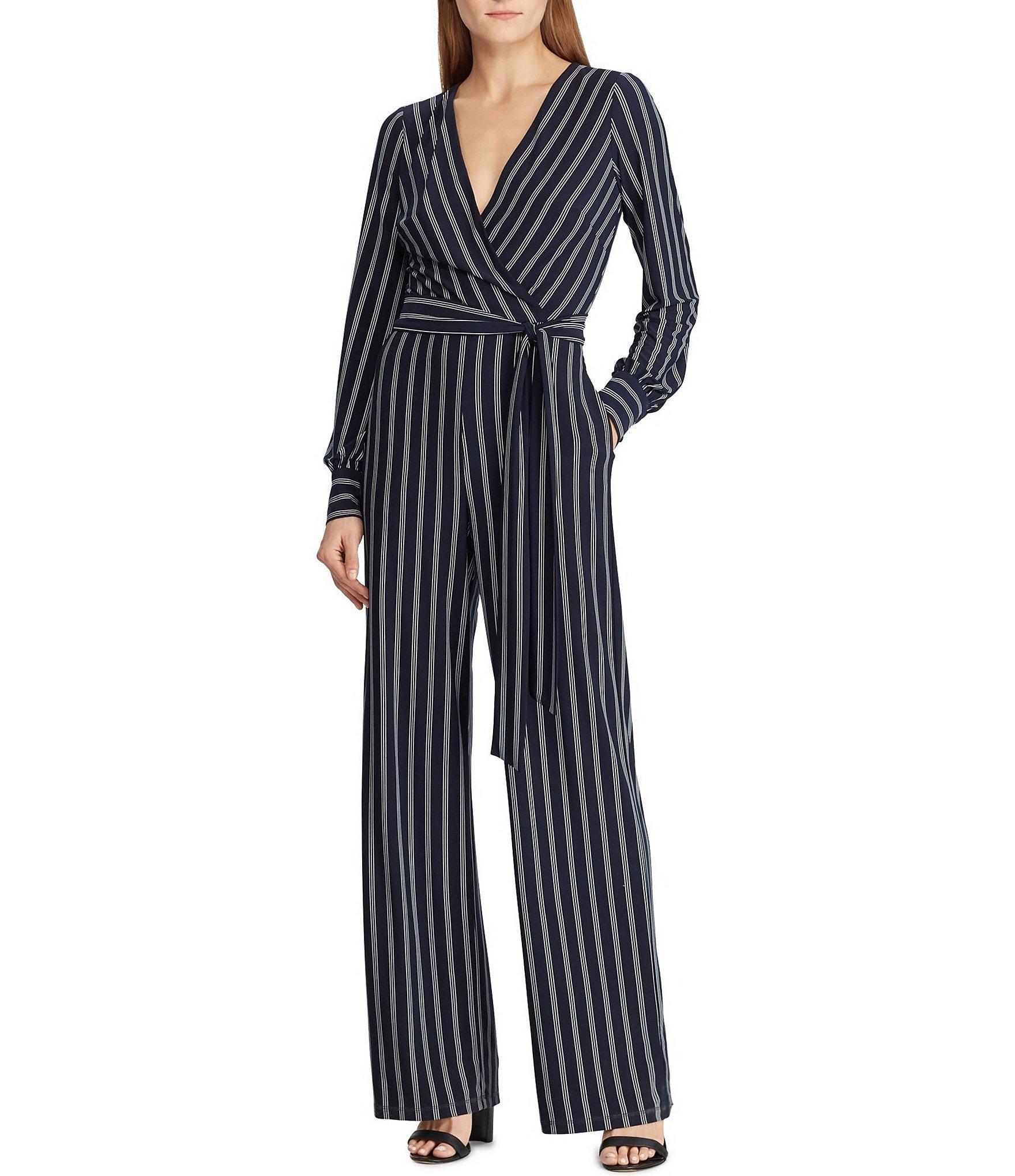 fdc64806428 Lyst - Lauren by Ralph Lauren Striped Surplice V-neck Tie Waist ...
